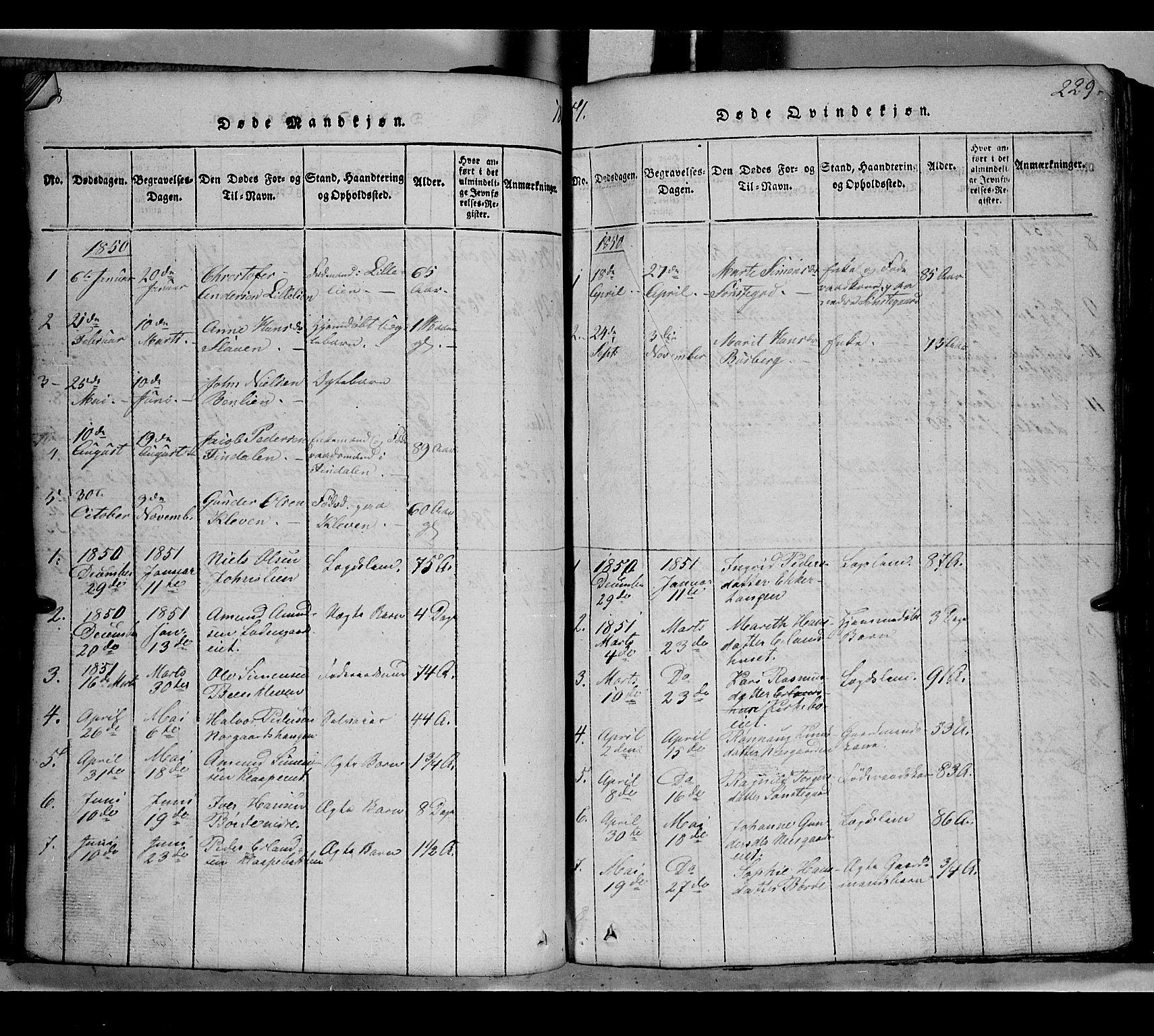 SAH, Gausdal prestekontor, Klokkerbok nr. 2, 1818-1874, s. 228-229