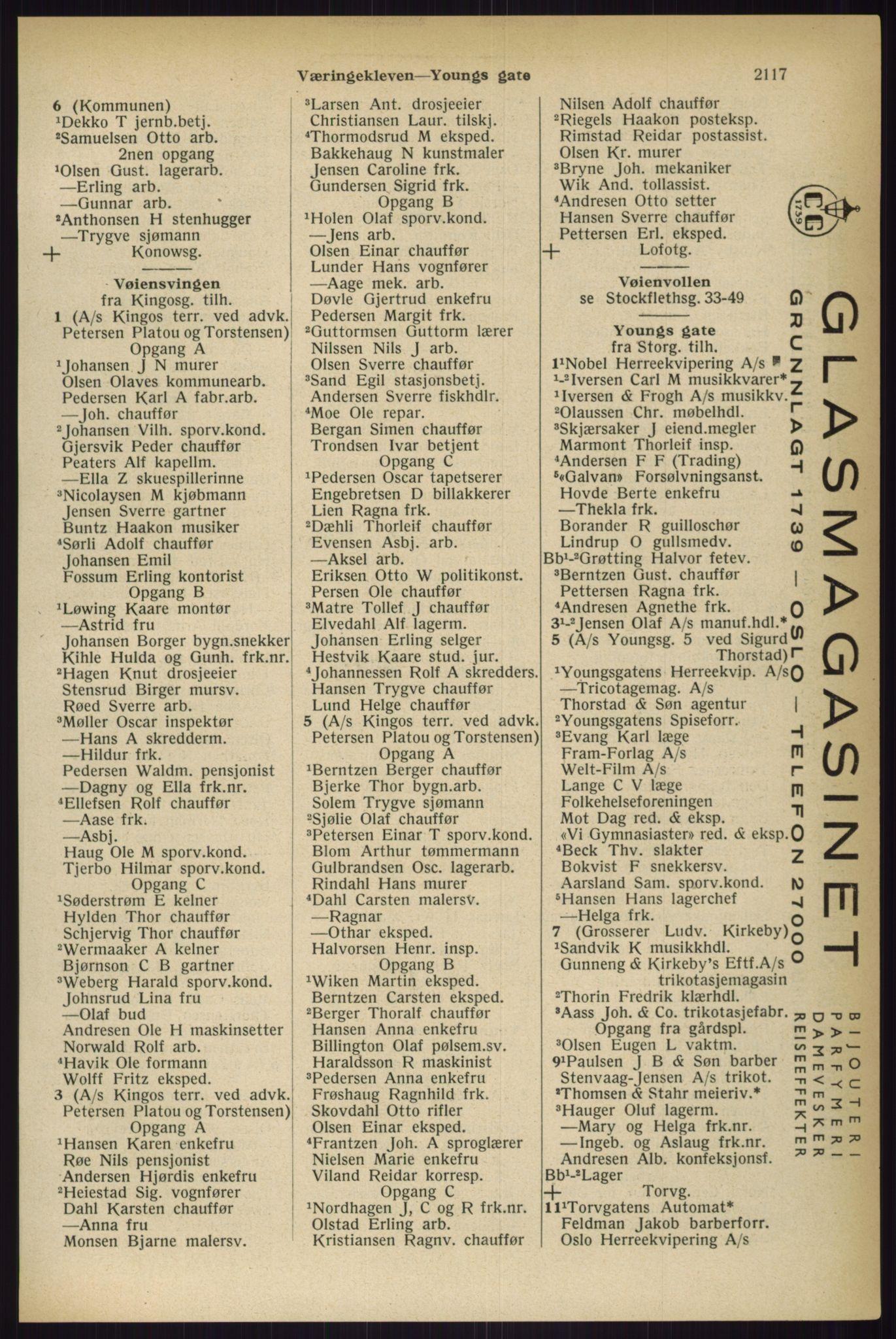 RA, Oslo adressebok (publikasjon)*, 1933, s. 2117