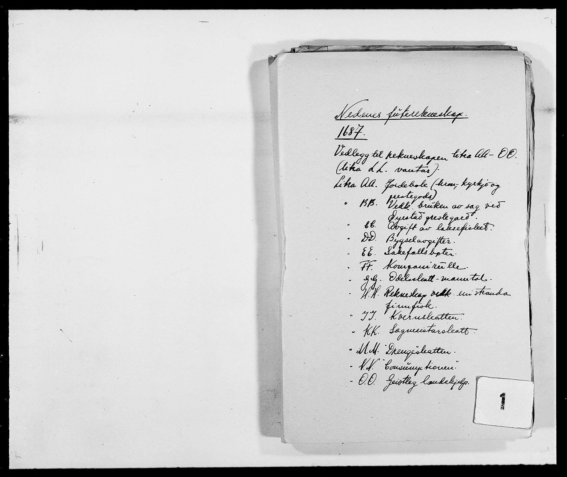 RA, Rentekammeret inntil 1814, Reviderte regnskaper, Fogderegnskap, R39/L2309: Fogderegnskap Nedenes, 1684-1689, s. 1