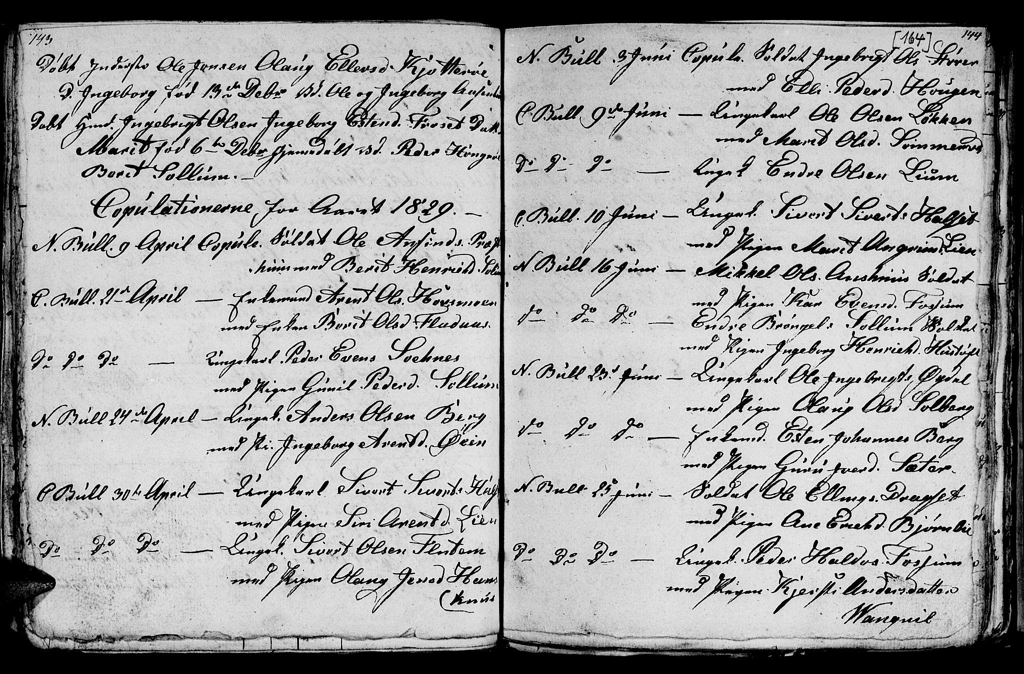 SAT, Ministerialprotokoller, klokkerbøker og fødselsregistre - Sør-Trøndelag, 689/L1042: Klokkerbok nr. 689C01, 1812-1841, s. 163-164