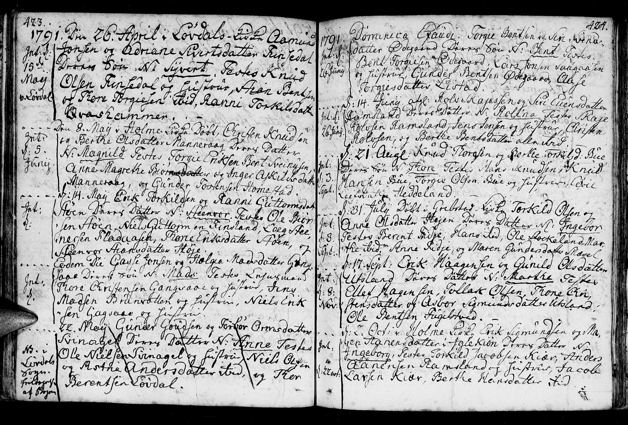 SAK, Holum sokneprestkontor, F/Fa/Fac/L0001: Ministerialbok nr. A 1, 1773-1820, s. 423-424