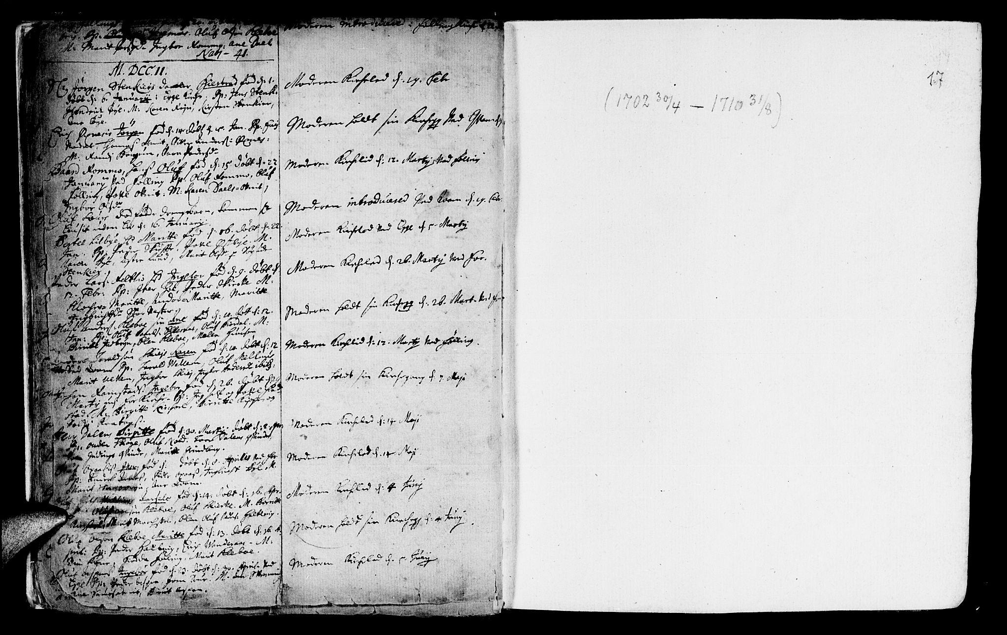 SAT, Ministerialprotokoller, klokkerbøker og fødselsregistre - Nord-Trøndelag, 746/L0439: Ministerialbok nr. 746A01, 1688-1759, s. 17