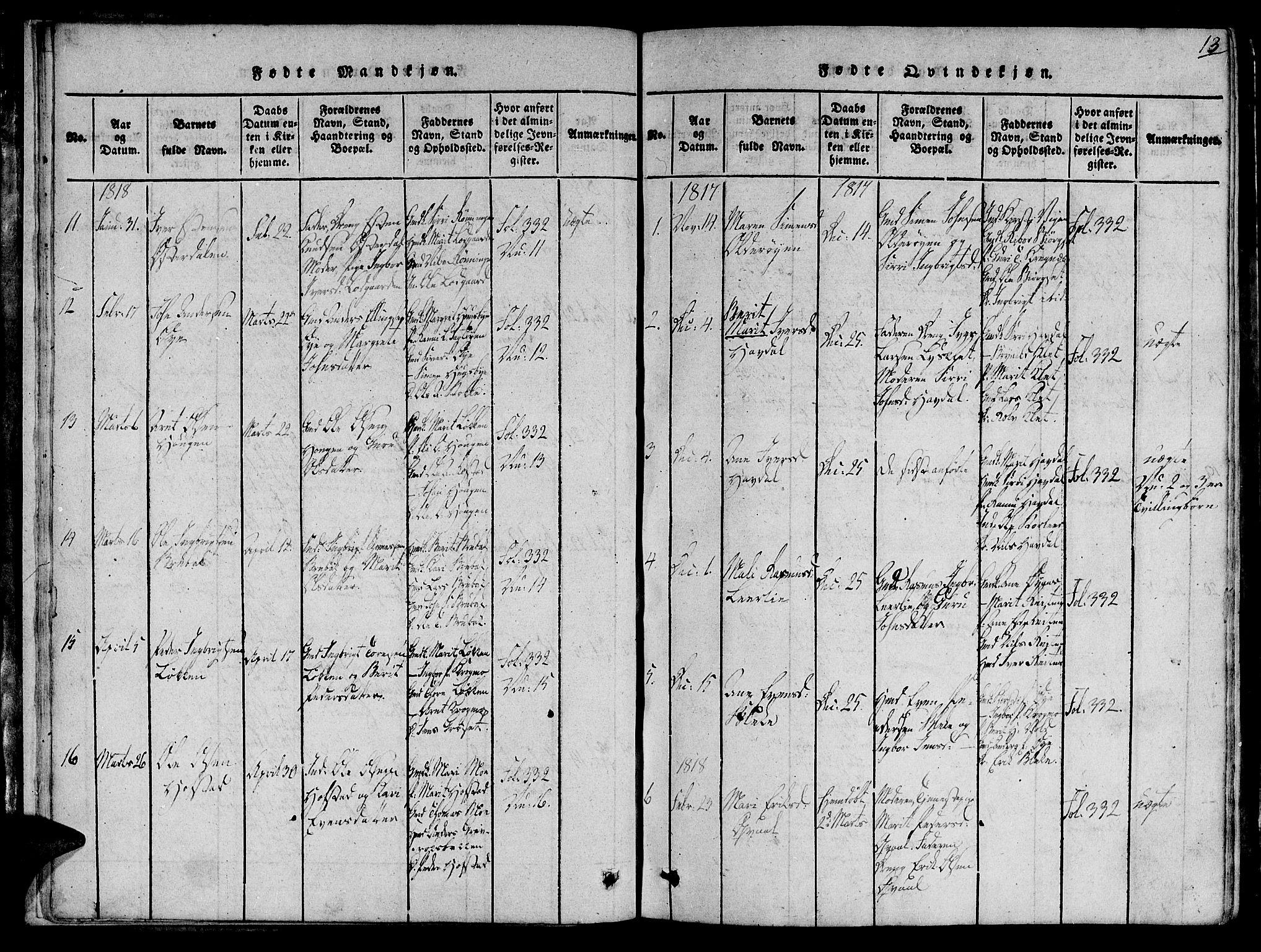 SAT, Ministerialprotokoller, klokkerbøker og fødselsregistre - Sør-Trøndelag, 691/L1065: Ministerialbok nr. 691A03 /1, 1816-1826, s. 13
