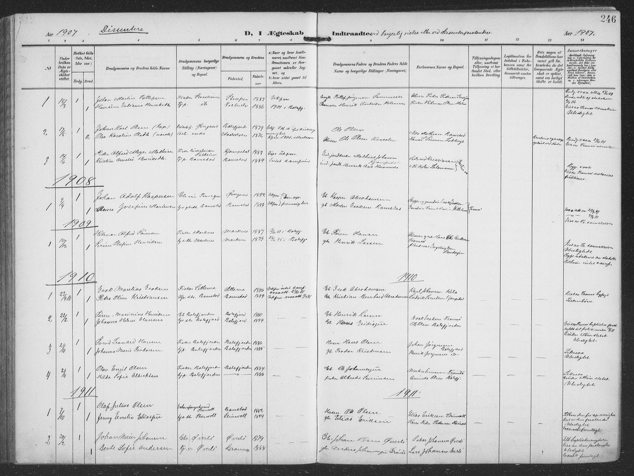 SATØ, Balsfjord sokneprestembete, G/Ga/L0009klokker: Klokkerbok nr. 9, 1906-1920, s. 246