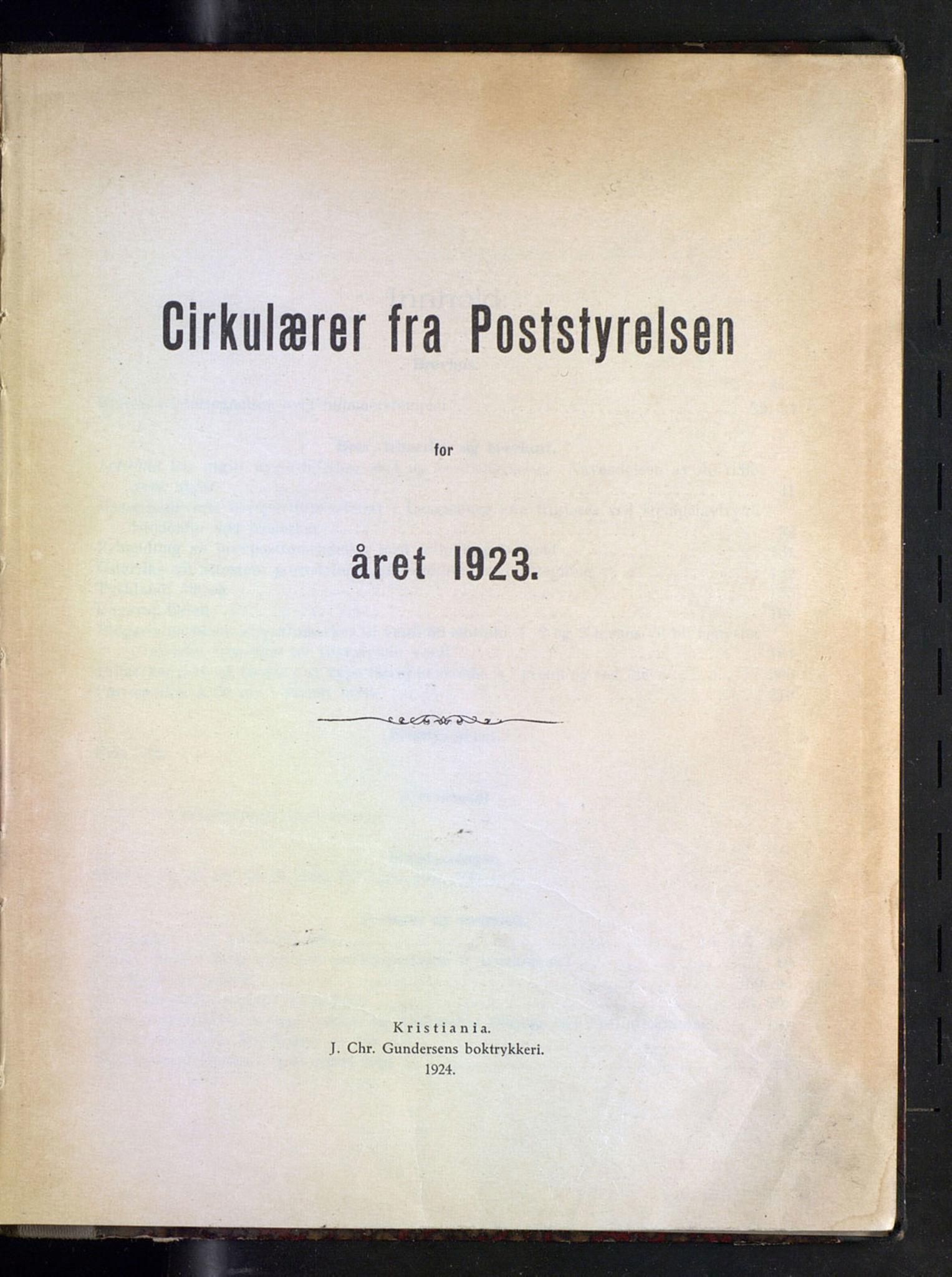 NOPO, Norges Postmuseums bibliotek, -/-: Sirkulærer fra Poststyrelsen, 1923