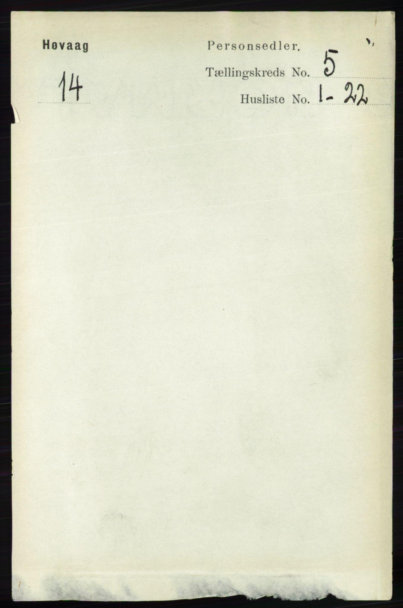 RA, Folketelling 1891 for 0927 Høvåg herred, 1891, s. 1841