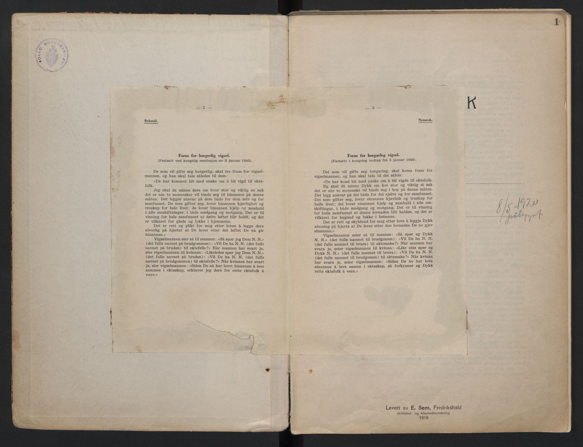 SAO, Follo sorenskriveri, L/La/Lab/L0001: Vigselsbok, 1920-1942, s. 1