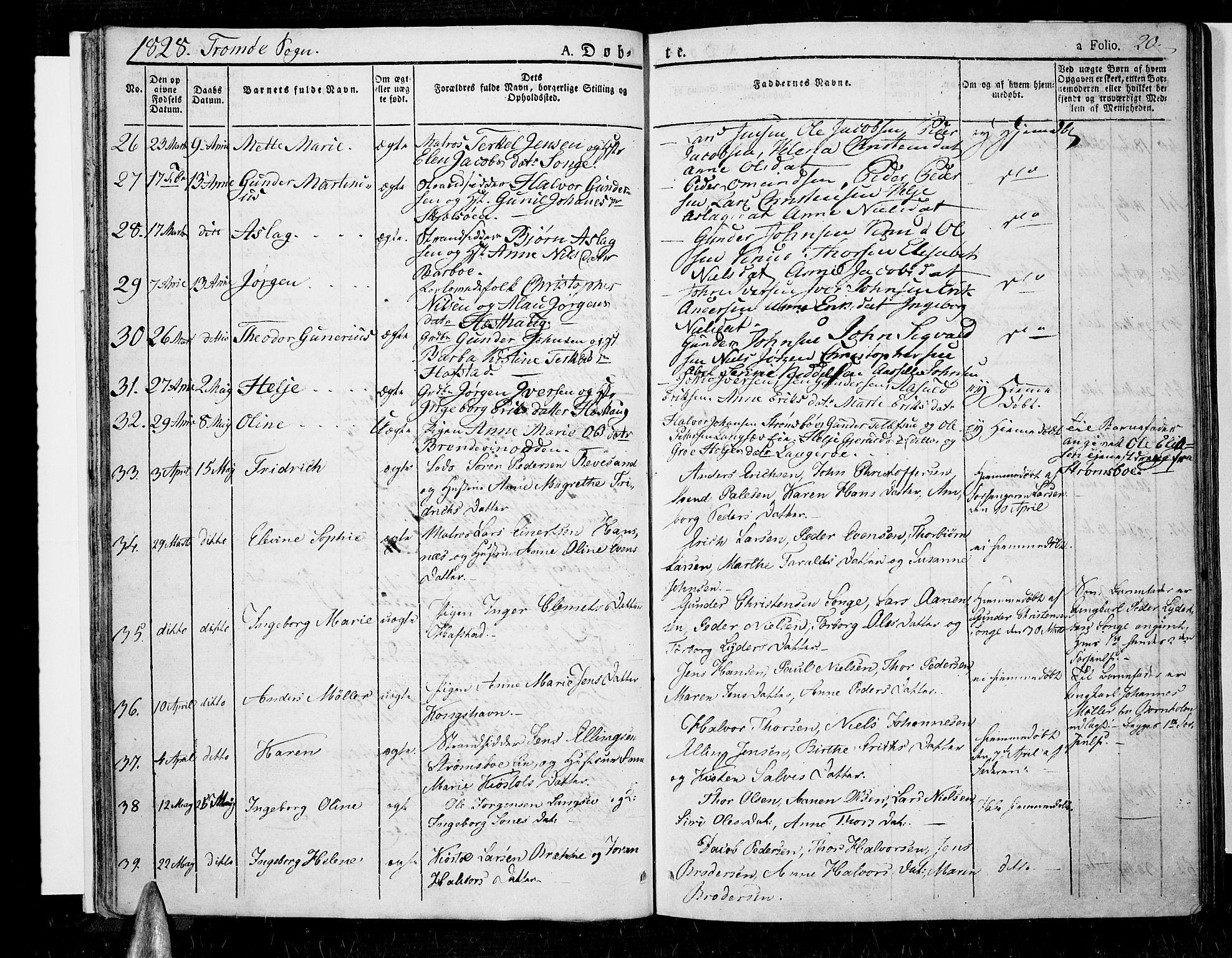 SAK, Tromøy sokneprestkontor, F/Fa/L0003: Ministerialbok nr. A 3, 1825-1837, s. 20