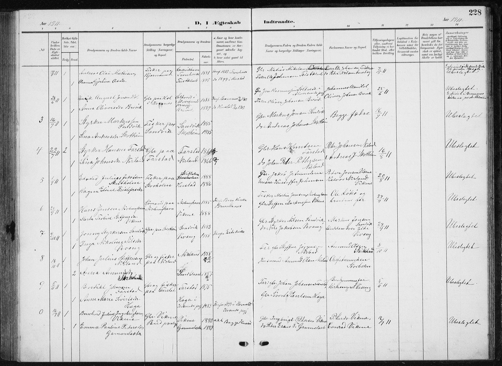 SAT, Ministerialprotokoller, klokkerbøker og fødselsregistre - Møre og Romsdal, 567/L0784: Klokkerbok nr. 567C04, 1903-1938, s. 228