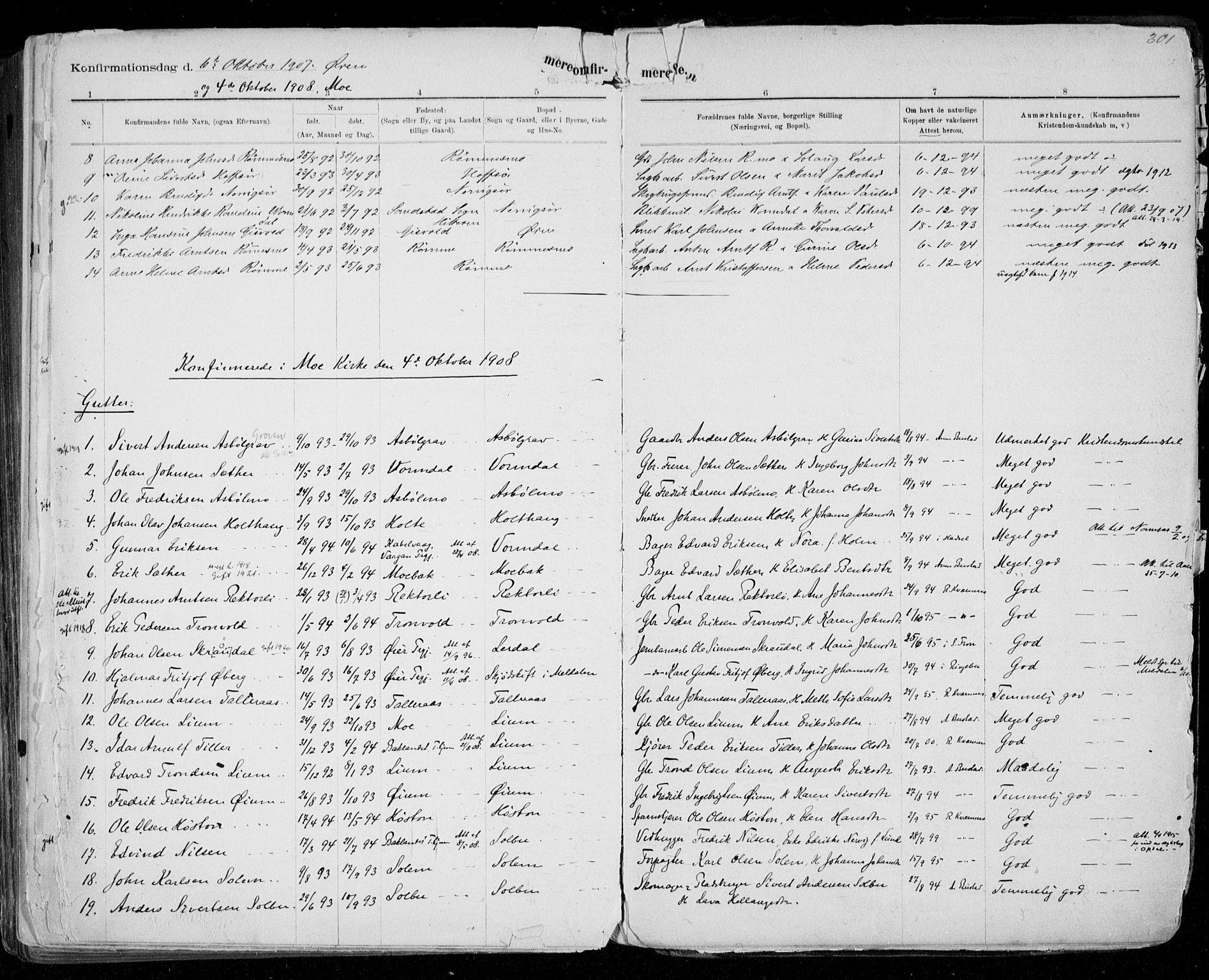 SAT, Ministerialprotokoller, klokkerbøker og fødselsregistre - Sør-Trøndelag, 668/L0811: Ministerialbok nr. 668A11, 1894-1913, s. 301