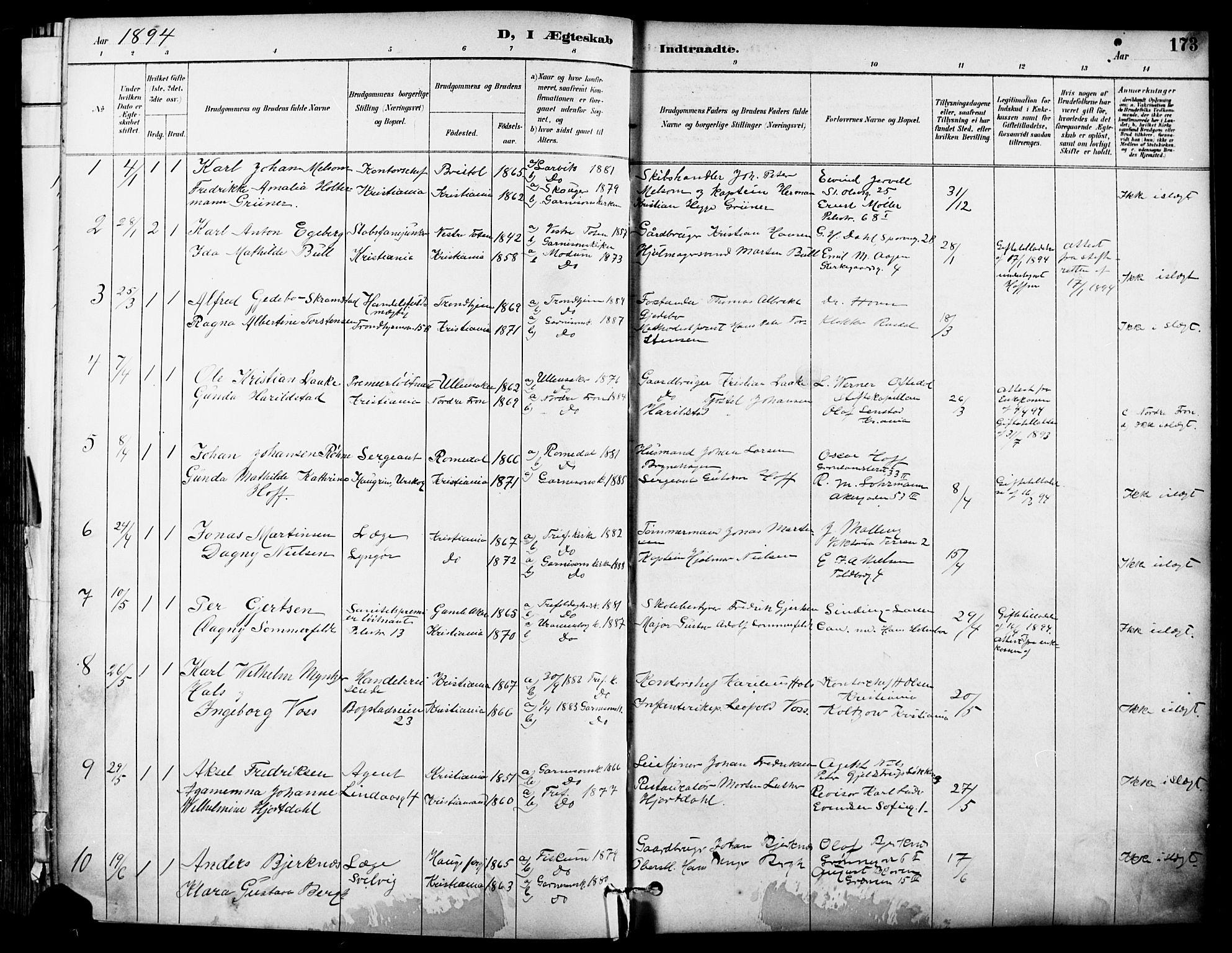 SAO, Garnisonsmenigheten Kirkebøker, F/Fa/L0013: Ministerialbok nr. 13, 1894-1904, s. 173