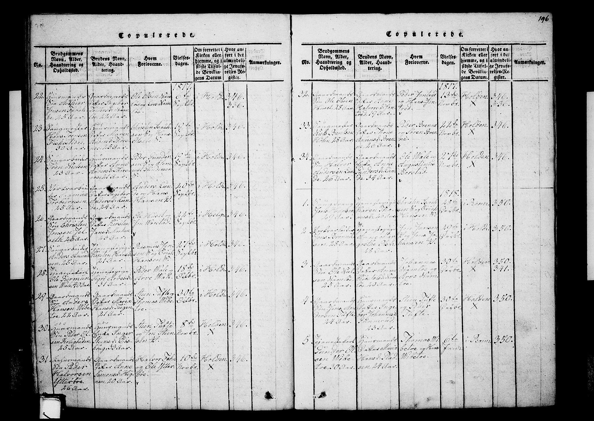 SAKO, Holla kirkebøker, G/Ga/L0001: Klokkerbok nr. I 1, 1814-1830, s. 196
