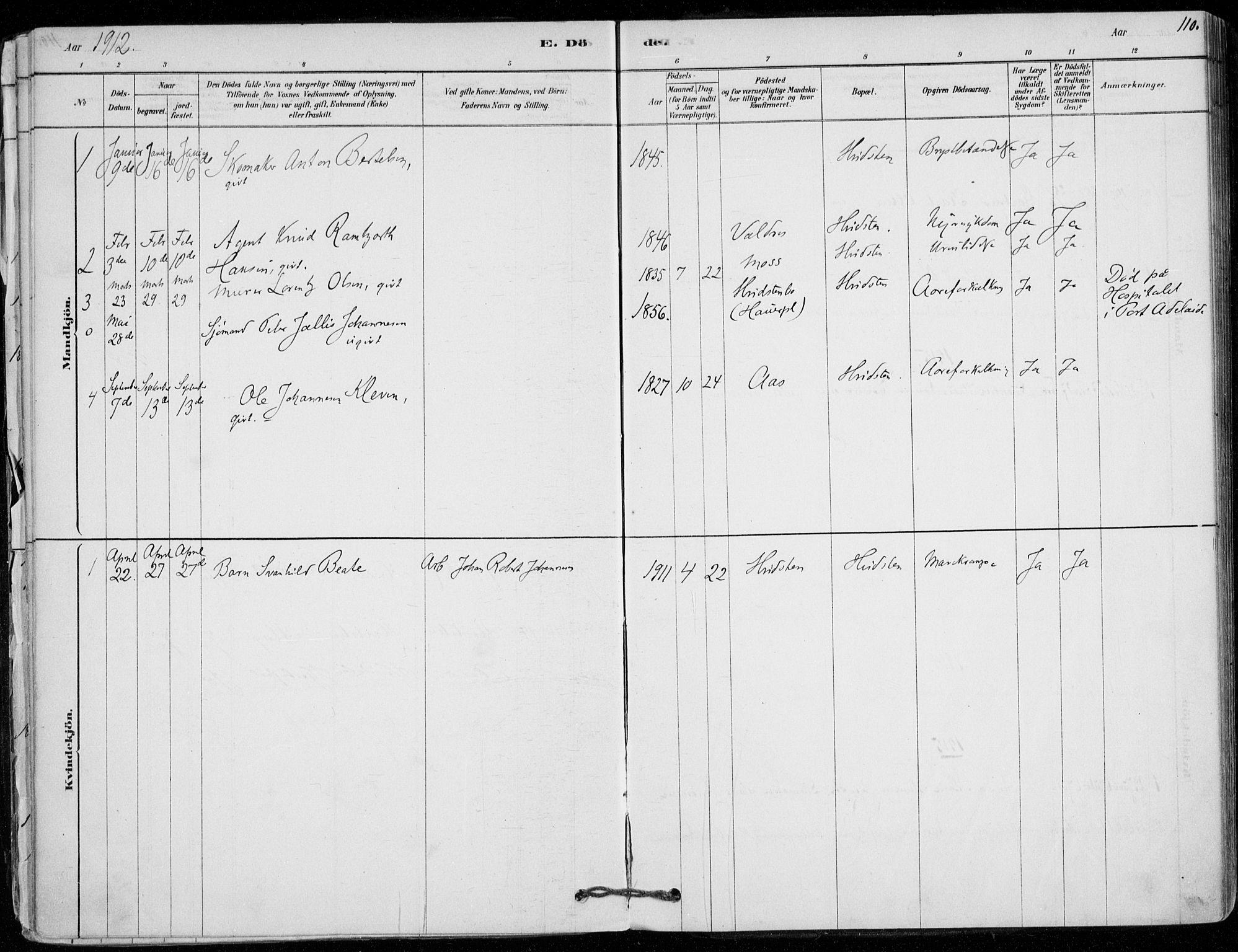 SAO, Vestby prestekontor Kirkebøker, F/Fd/L0001: Ministerialbok nr. IV 1, 1878-1945, s. 110