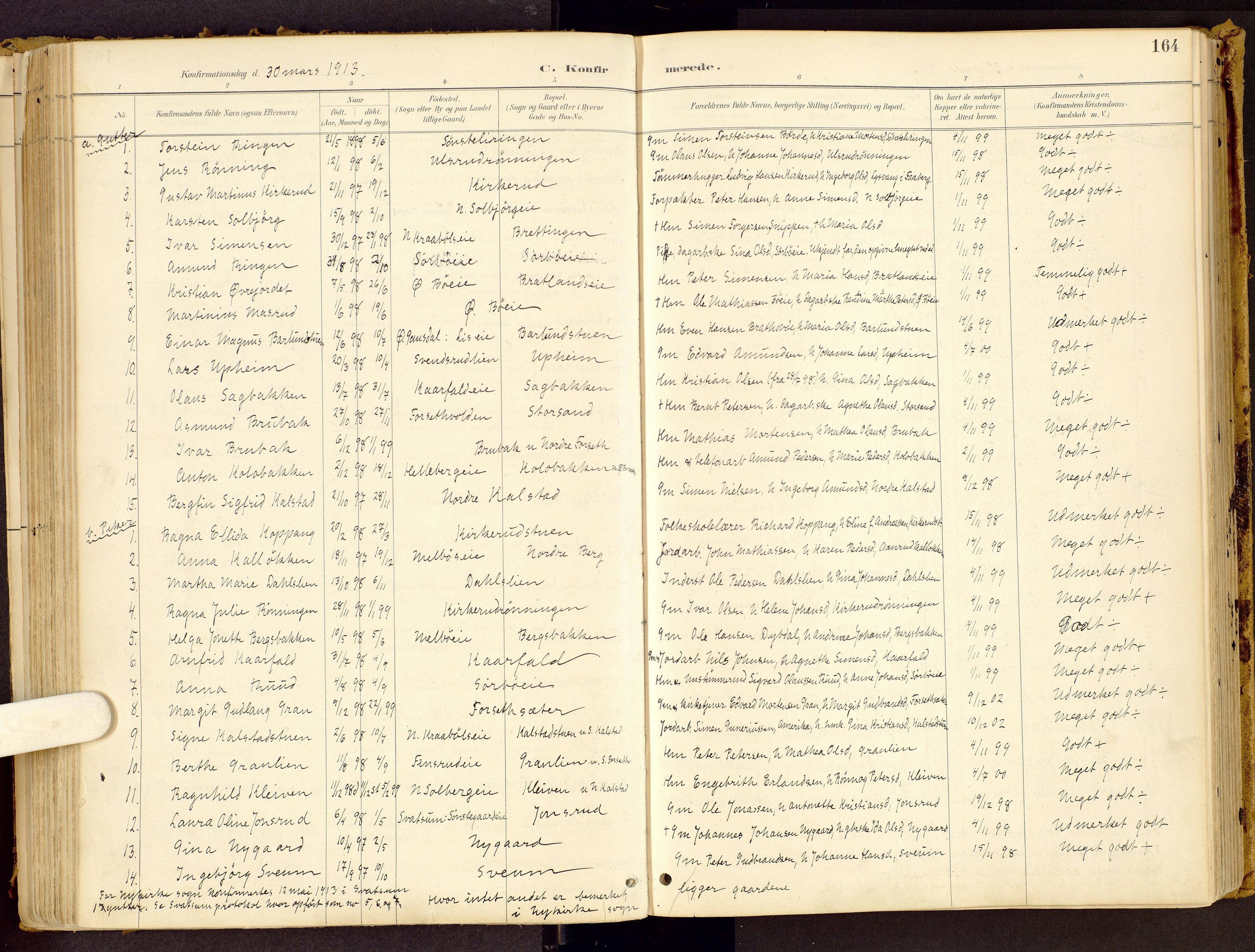 SAH, Vestre Gausdal prestekontor, Ministerialbok nr. 1, 1887-1914, s. 164