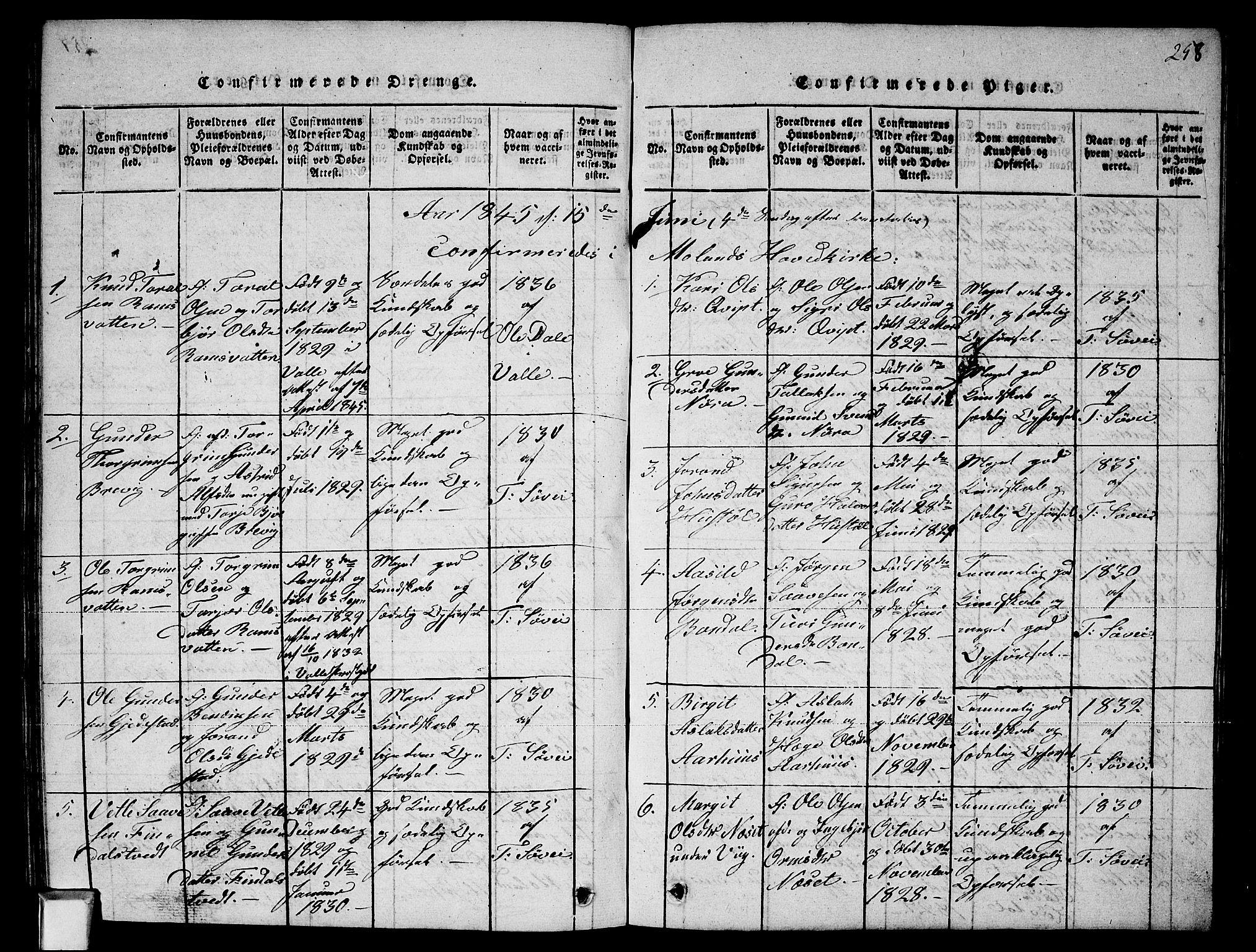 SAKO, Fyresdal kirkebøker, G/Ga/L0002: Klokkerbok nr. I 2, 1815-1857, s. 258