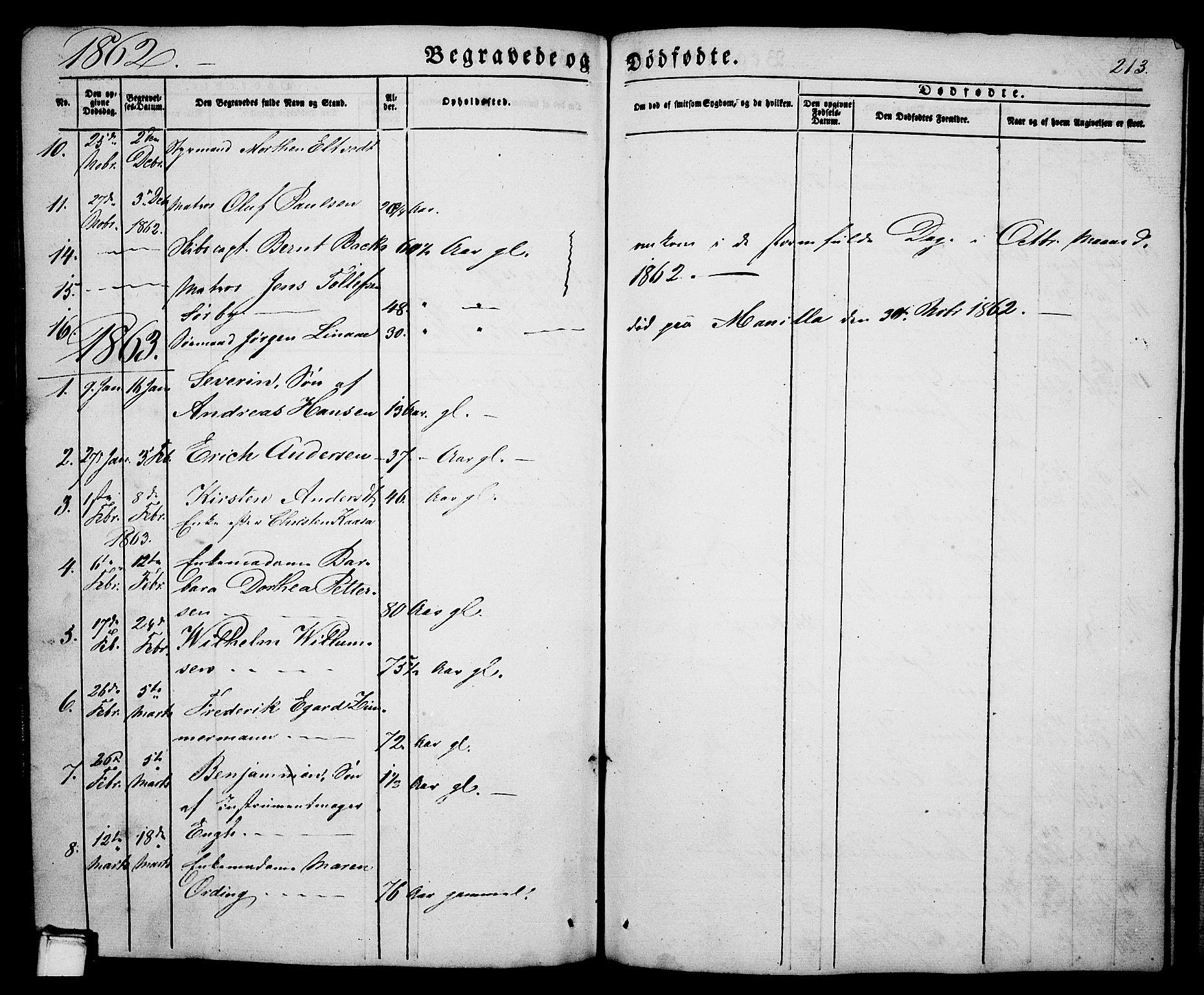 SAKO, Porsgrunn kirkebøker , G/Ga/L0002: Klokkerbok nr. I 2, 1847-1877, s. 213