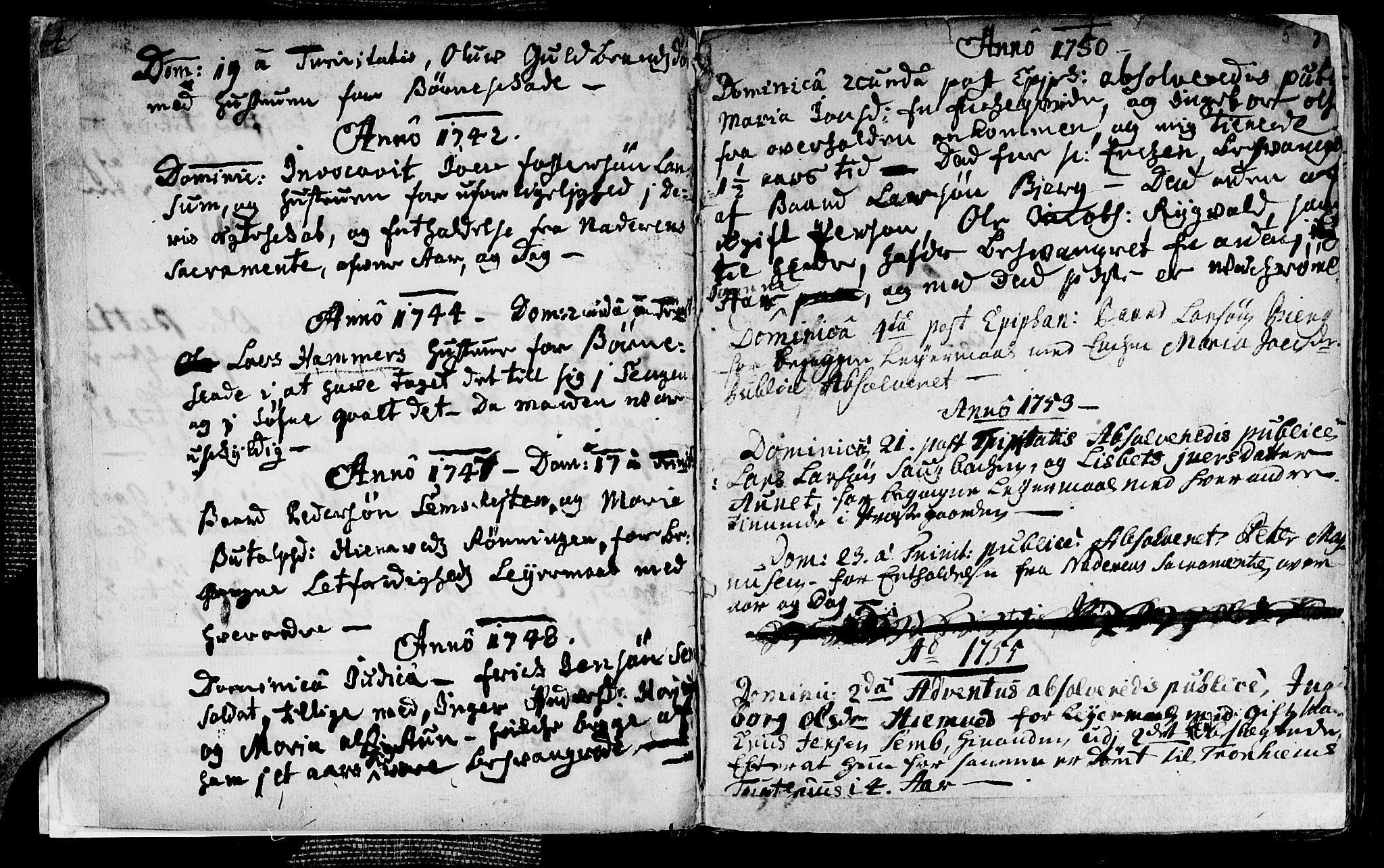 SAT, Ministerialprotokoller, klokkerbøker og fødselsregistre - Nord-Trøndelag, 749/L0467: Ministerialbok nr. 749A01, 1733-1787, s. 4-5