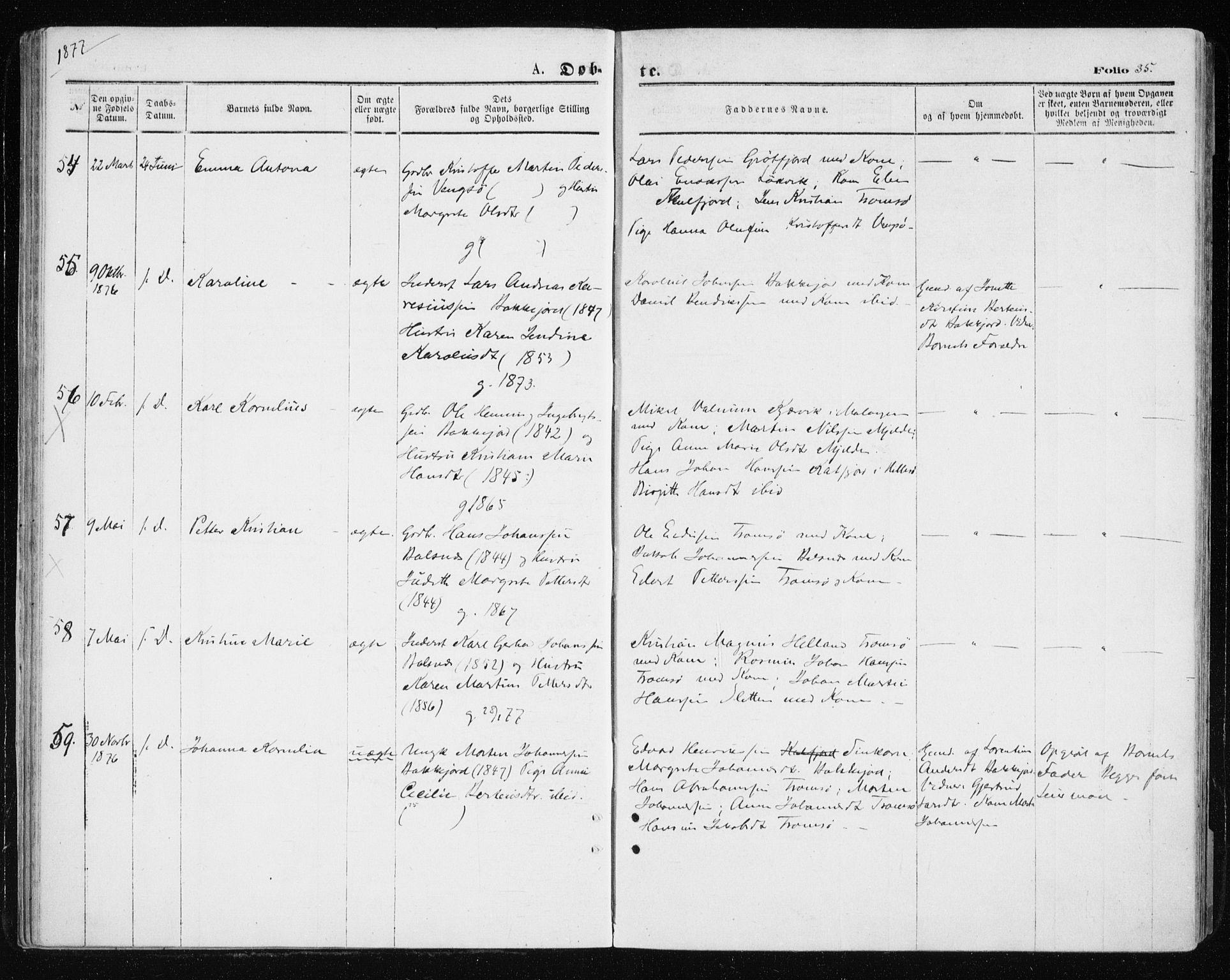 SATØ, Tromsøysund sokneprestkontor, G/Ga/L0003kirke: Ministerialbok nr. 3, 1875-1880, s. 35