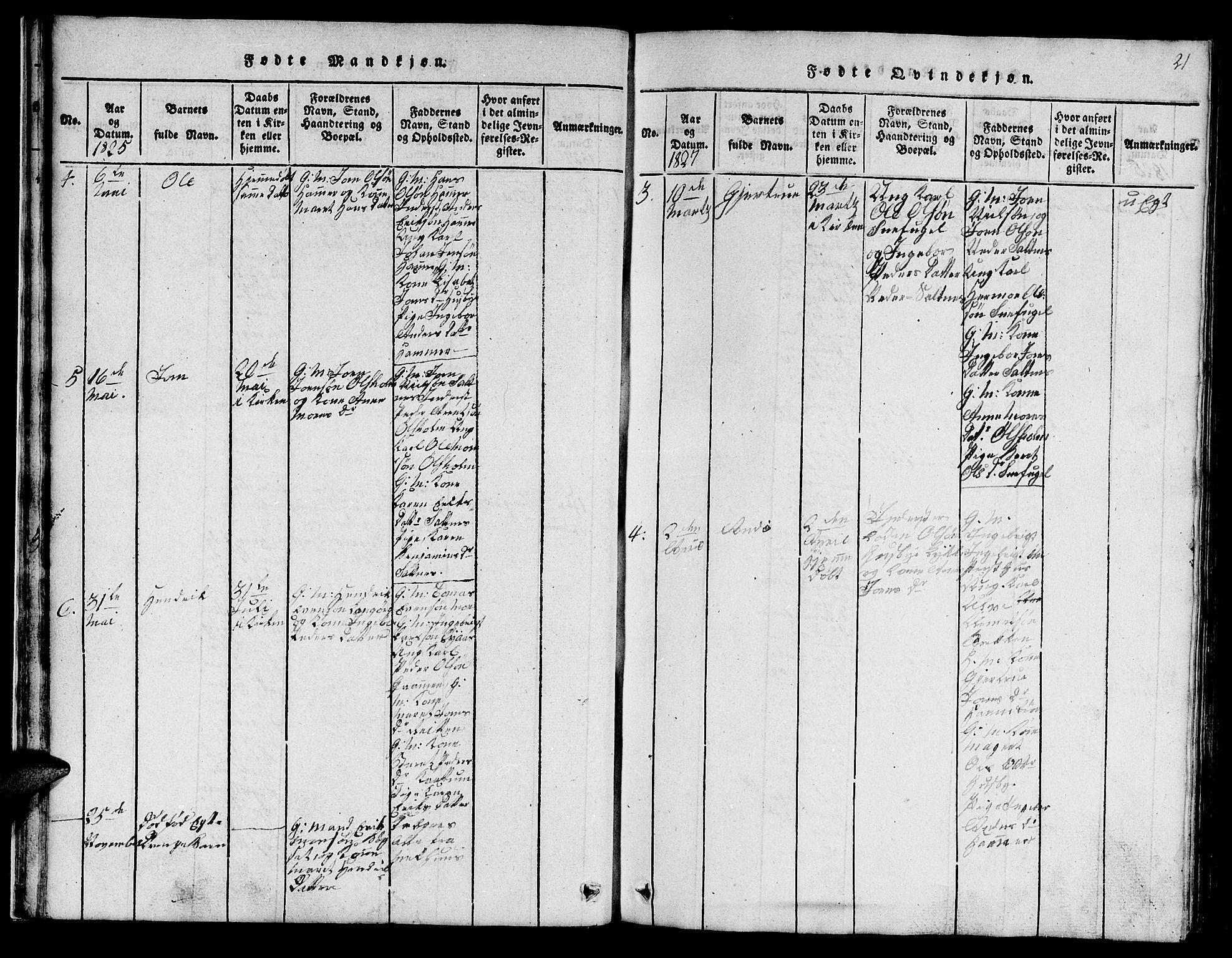 SAT, Ministerialprotokoller, klokkerbøker og fødselsregistre - Sør-Trøndelag, 666/L0788: Klokkerbok nr. 666C01, 1816-1847, s. 21
