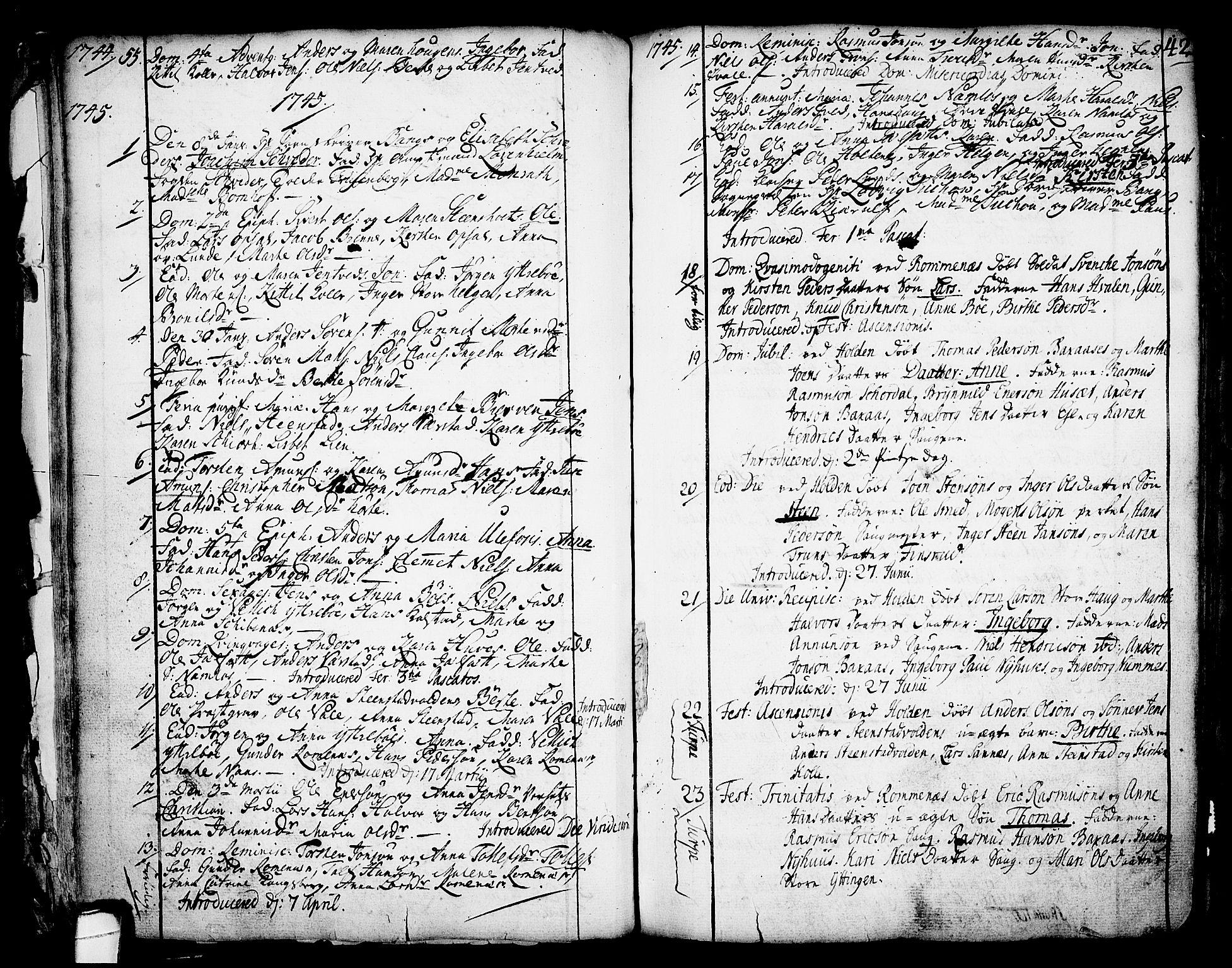 SAKO, Holla kirkebøker, F/Fa/L0001: Ministerialbok nr. 1, 1717-1779, s. 42