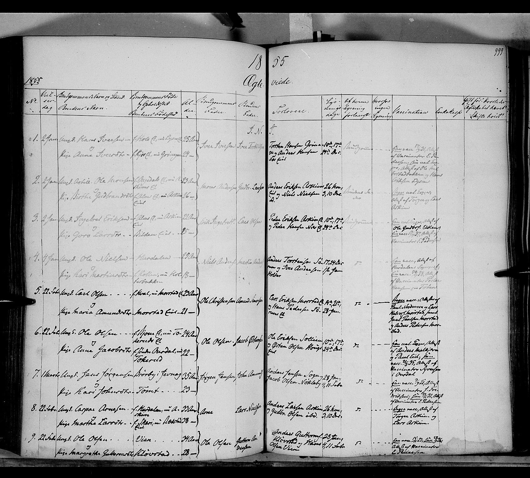 SAH, Gran prestekontor, Ministerialbok nr. 11, 1842-1856, s. 998-999