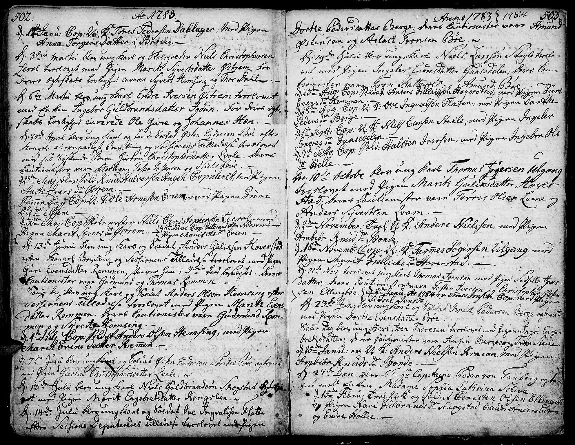 SAH, Vang prestekontor, Valdres, Ministerialbok nr. 1, 1730-1796, s. 502-503