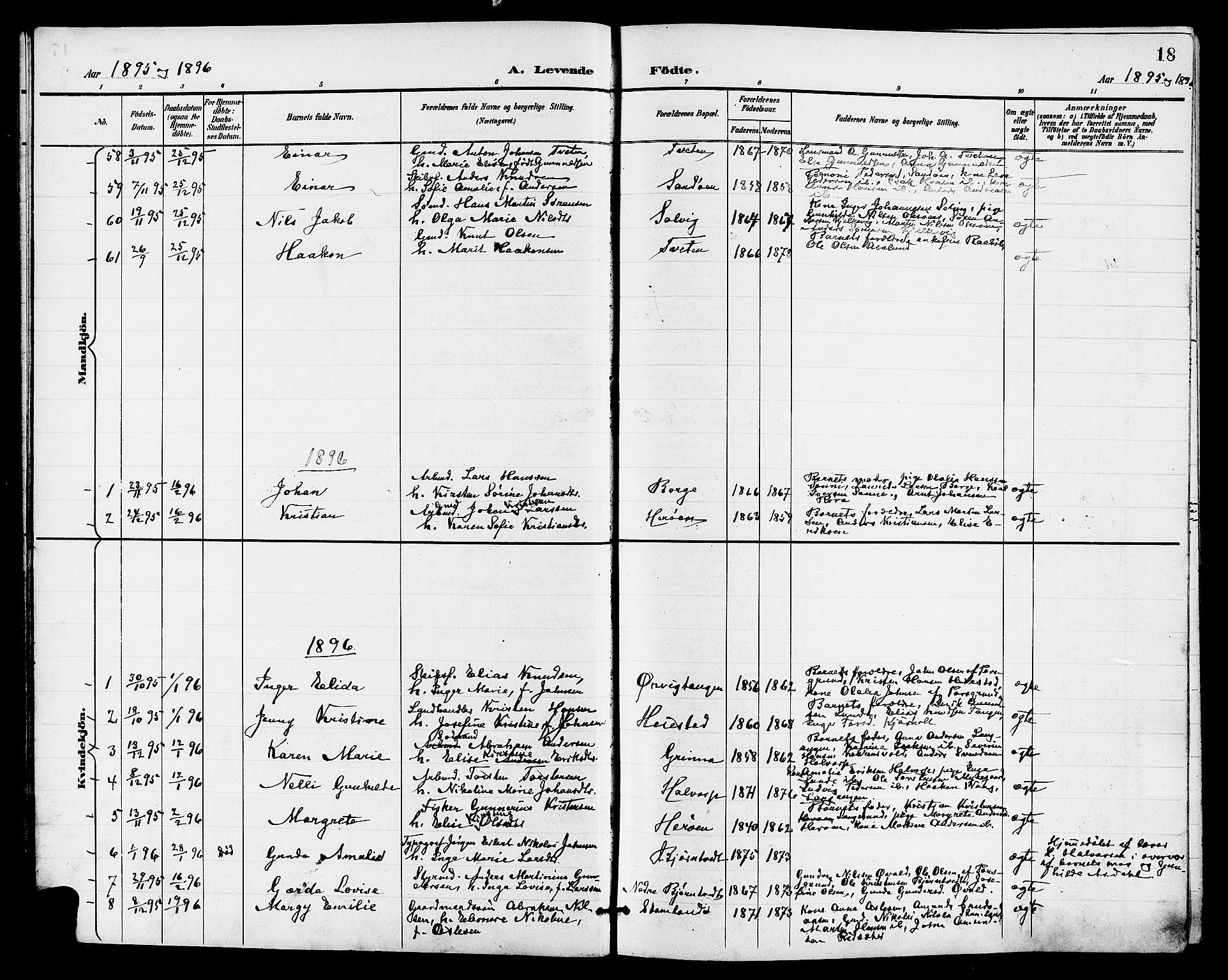 SAKO, Eidanger kirkebøker, G/Ga/L0003: Klokkerbok nr. 3, 1893-1911, s. 18