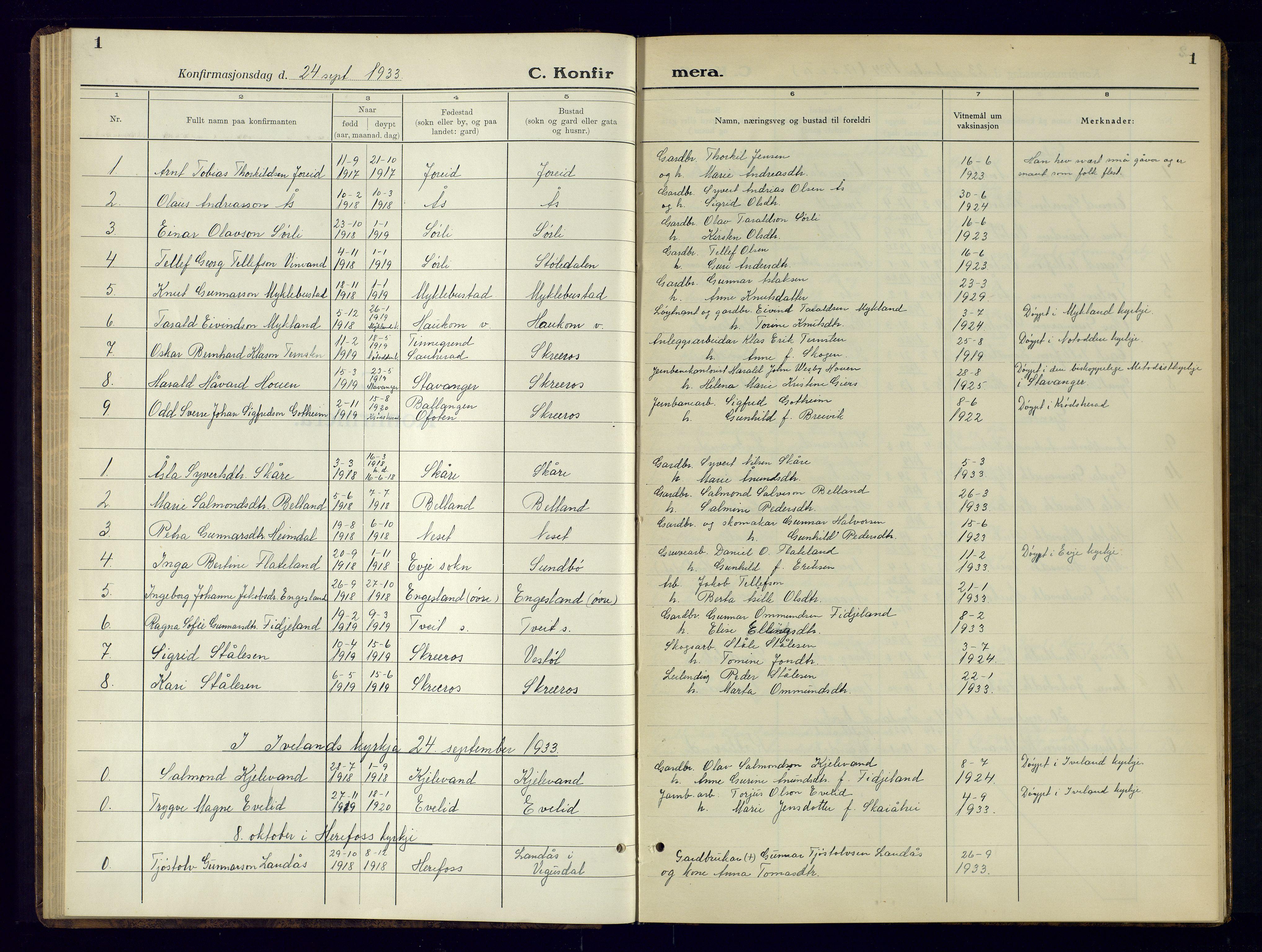 SAK, Herefoss sokneprestkontor, F/Fb/Fbb/L0005: Klokkerbok nr. B-5, 1933-1961, s. 1