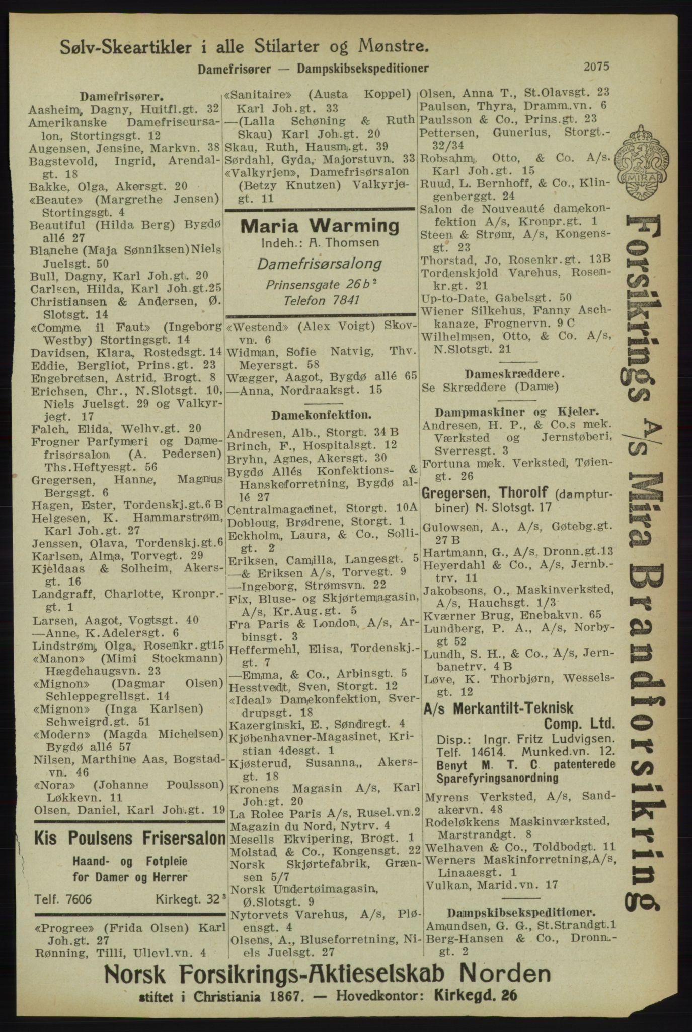 RA, Kristiania adressebok (publikasjon)*, 1918, s. 2075