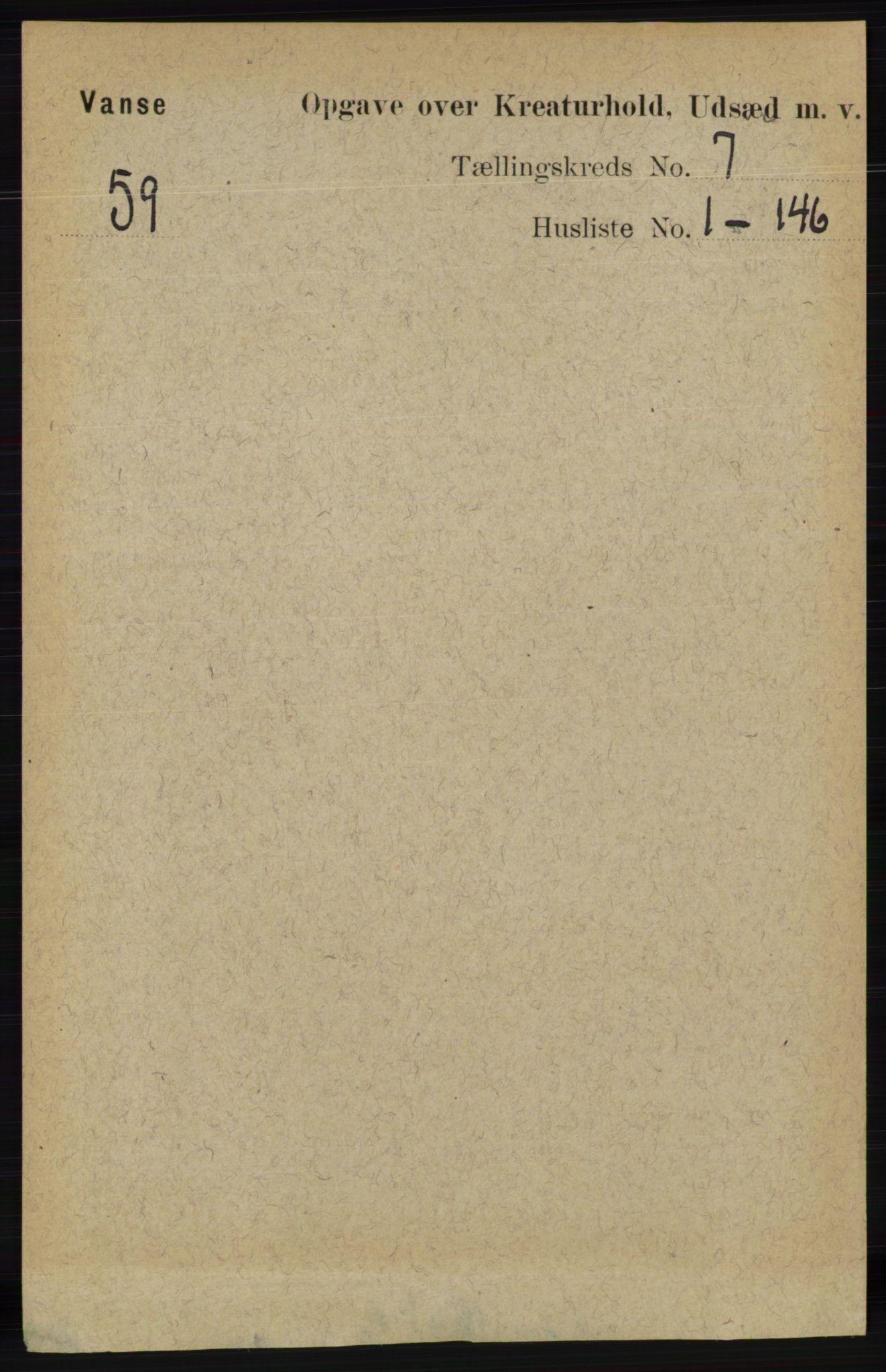 RA, Folketelling 1891 for 1041 Vanse herred, 1891, s. 9153