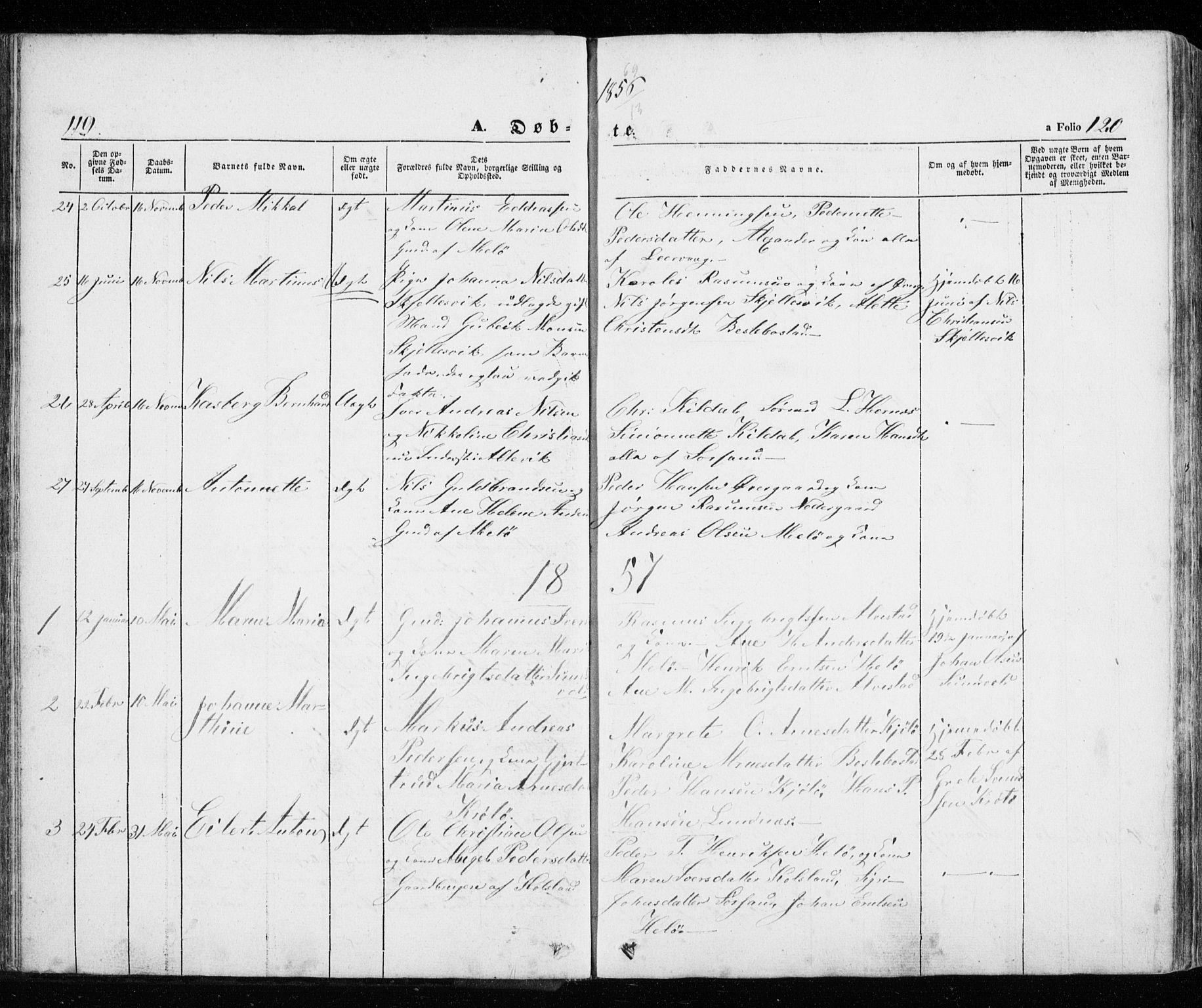 SATØ, Trondenes sokneprestkontor, H/Ha/L0010kirke: Ministerialbok nr. 10, 1840-1865, s. 119-120