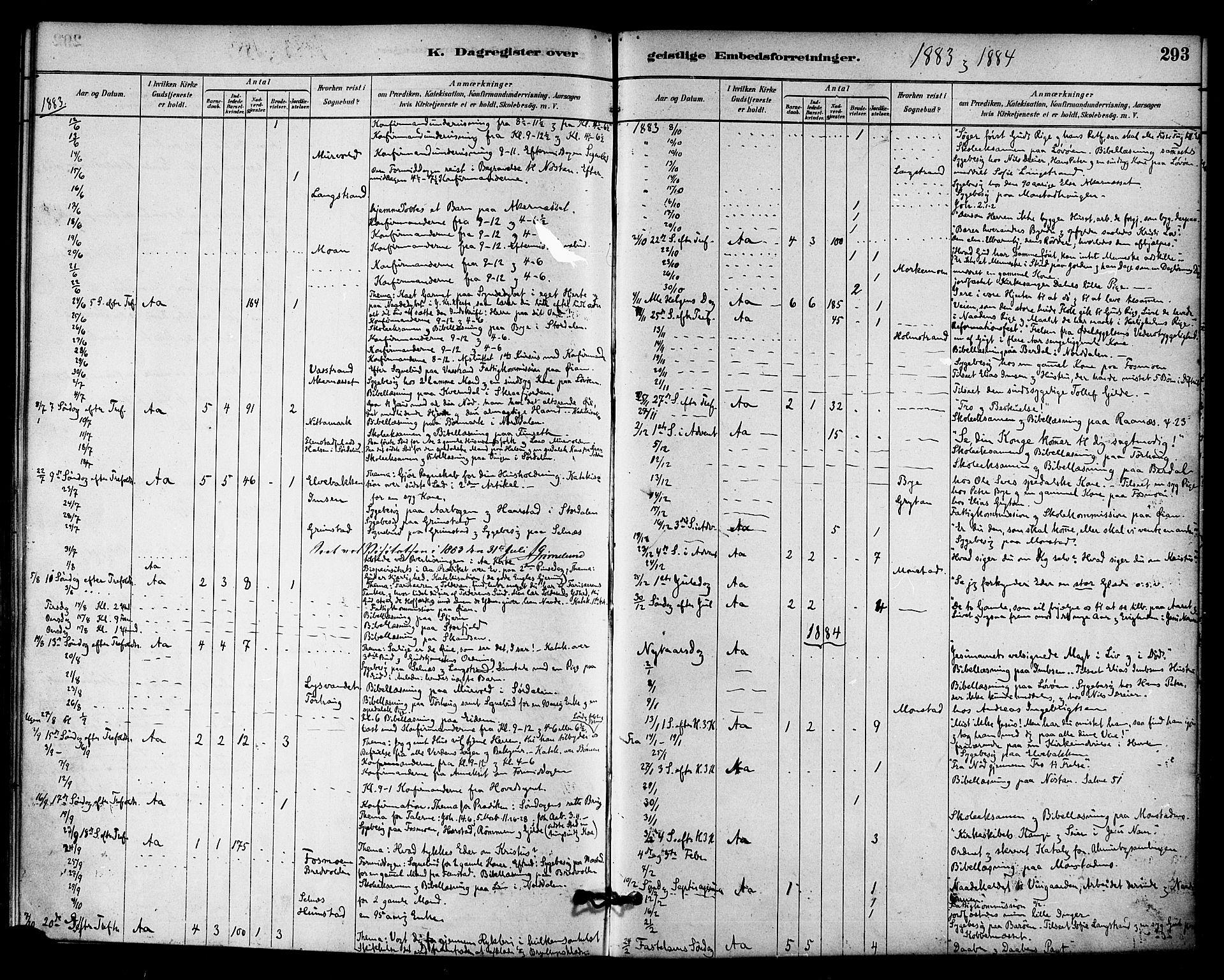SAT, Ministerialprotokoller, klokkerbøker og fødselsregistre - Sør-Trøndelag, 655/L0680: Ministerialbok nr. 655A09, 1880-1894, s. 293