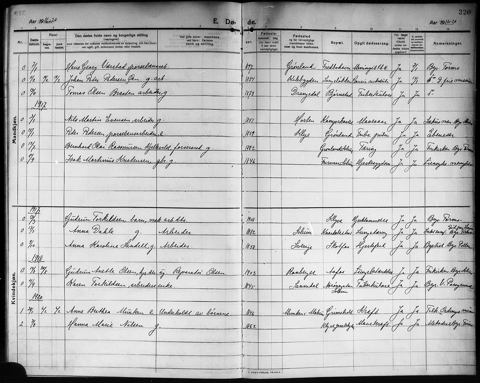 SAKO, Solum kirkebøker, G/Ga/L0009: Klokkerbok nr. I 9, 1909-1922, s. 320