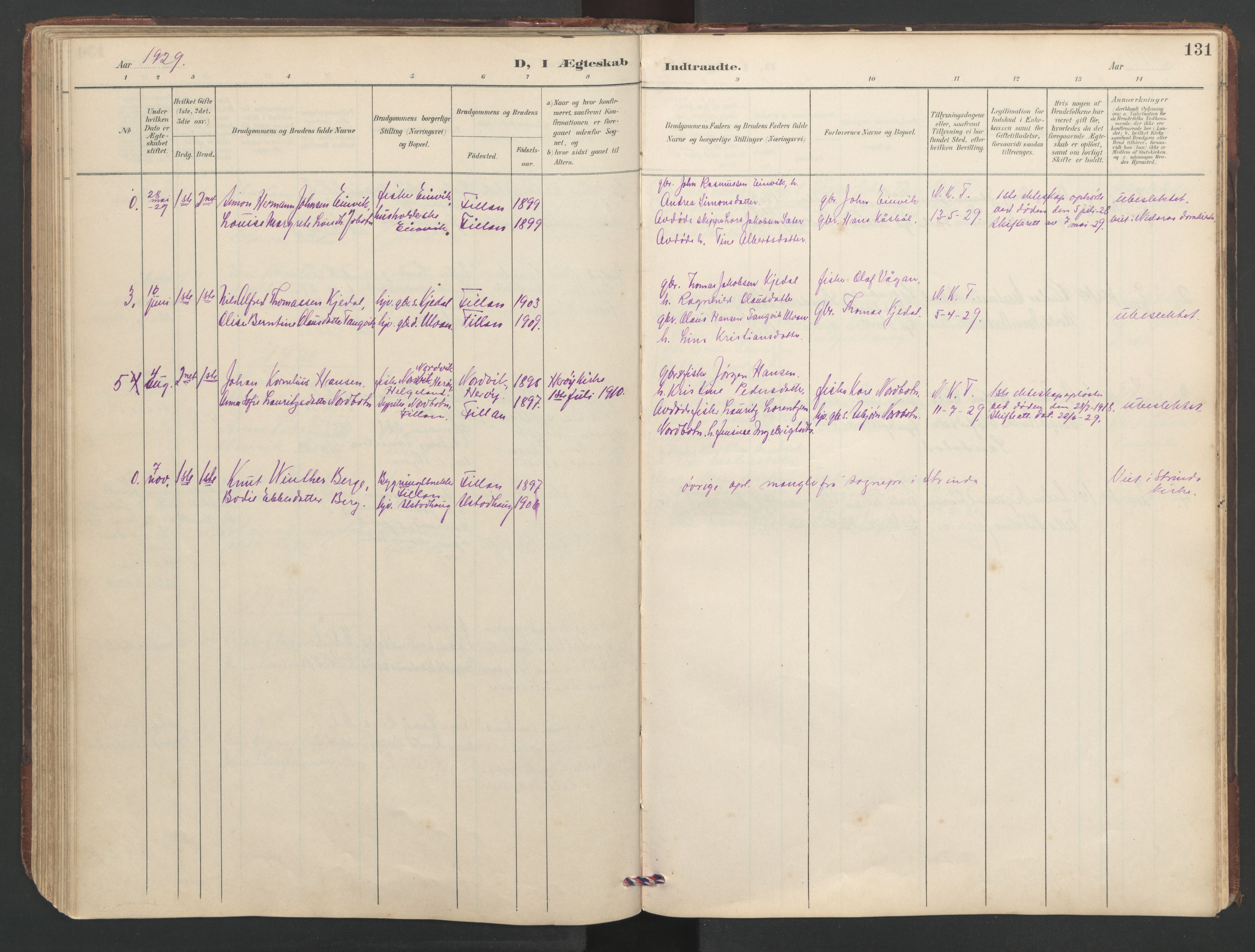 SAT, Ministerialprotokoller, klokkerbøker og fødselsregistre - Sør-Trøndelag, 638/L0571: Klokkerbok nr. 638C03, 1901-1930, s. 131