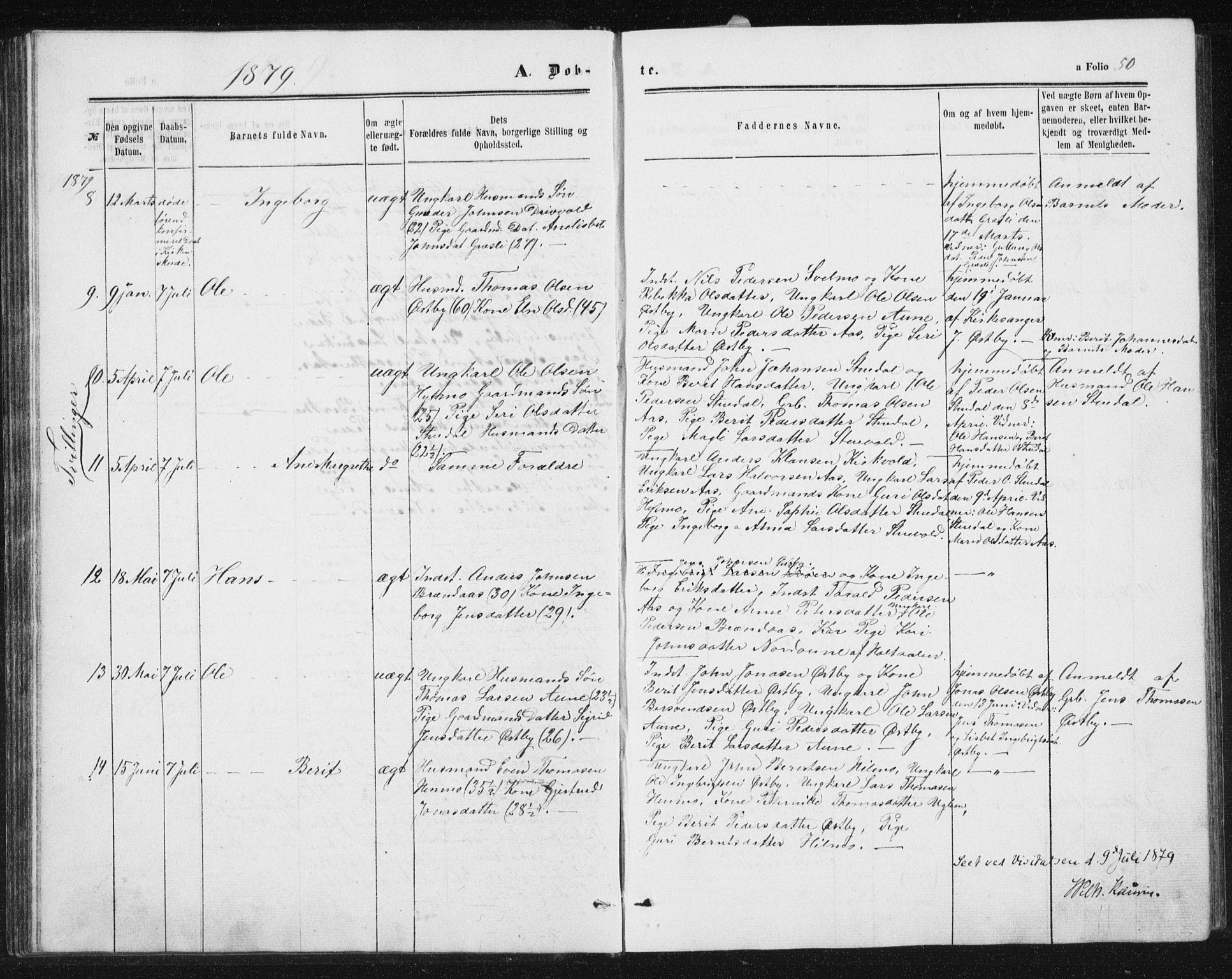 SAT, Ministerialprotokoller, klokkerbøker og fødselsregistre - Sør-Trøndelag, 698/L1166: Klokkerbok nr. 698C03, 1861-1887, s. 50
