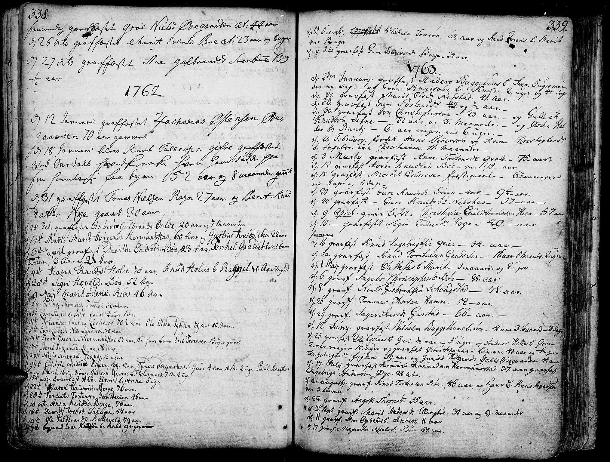 SAH, Vang prestekontor, Valdres, Ministerialbok nr. 1, 1730-1796, s. 338-339