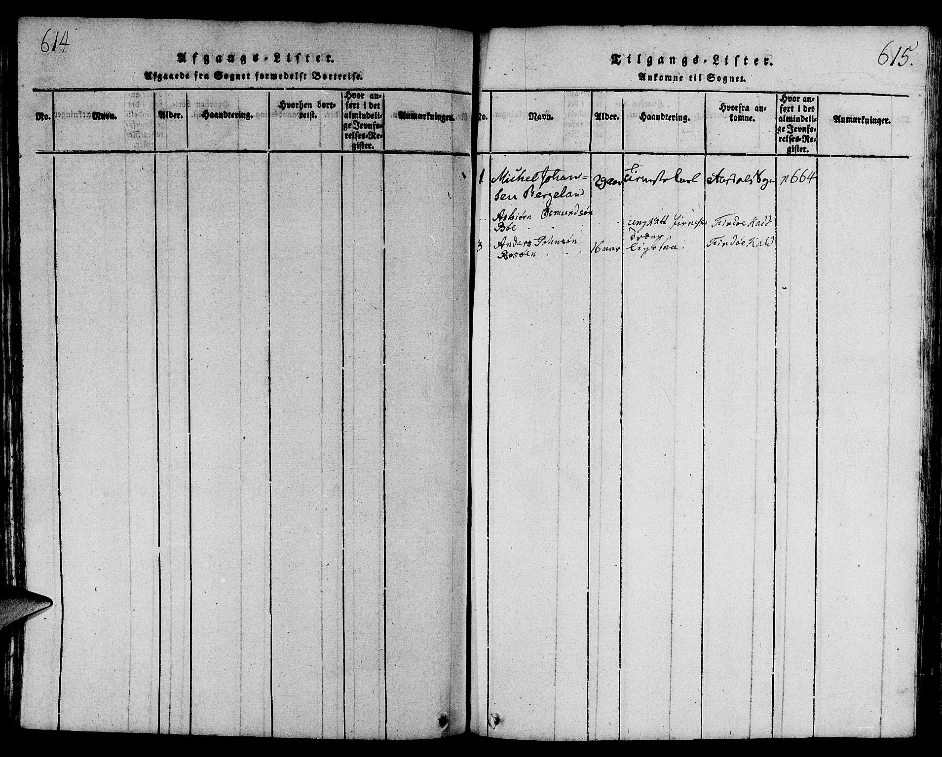 SAST, Strand sokneprestkontor, H/Ha/Hab/L0001: Klokkerbok nr. B 1, 1816-1854, s. 614-615