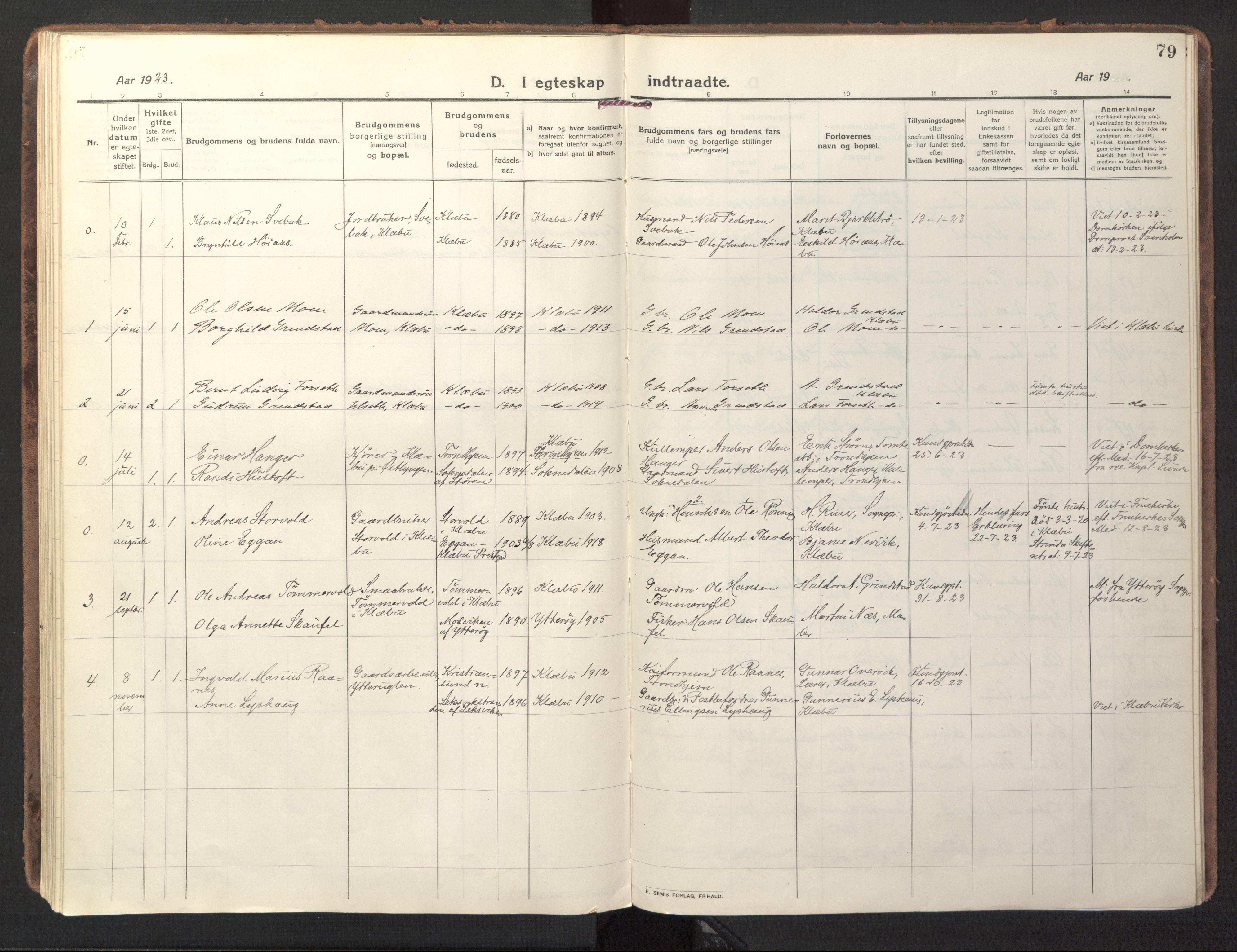 SAT, Ministerialprotokoller, klokkerbøker og fødselsregistre - Sør-Trøndelag, 618/L0449: Ministerialbok nr. 618A12, 1917-1924, s. 79