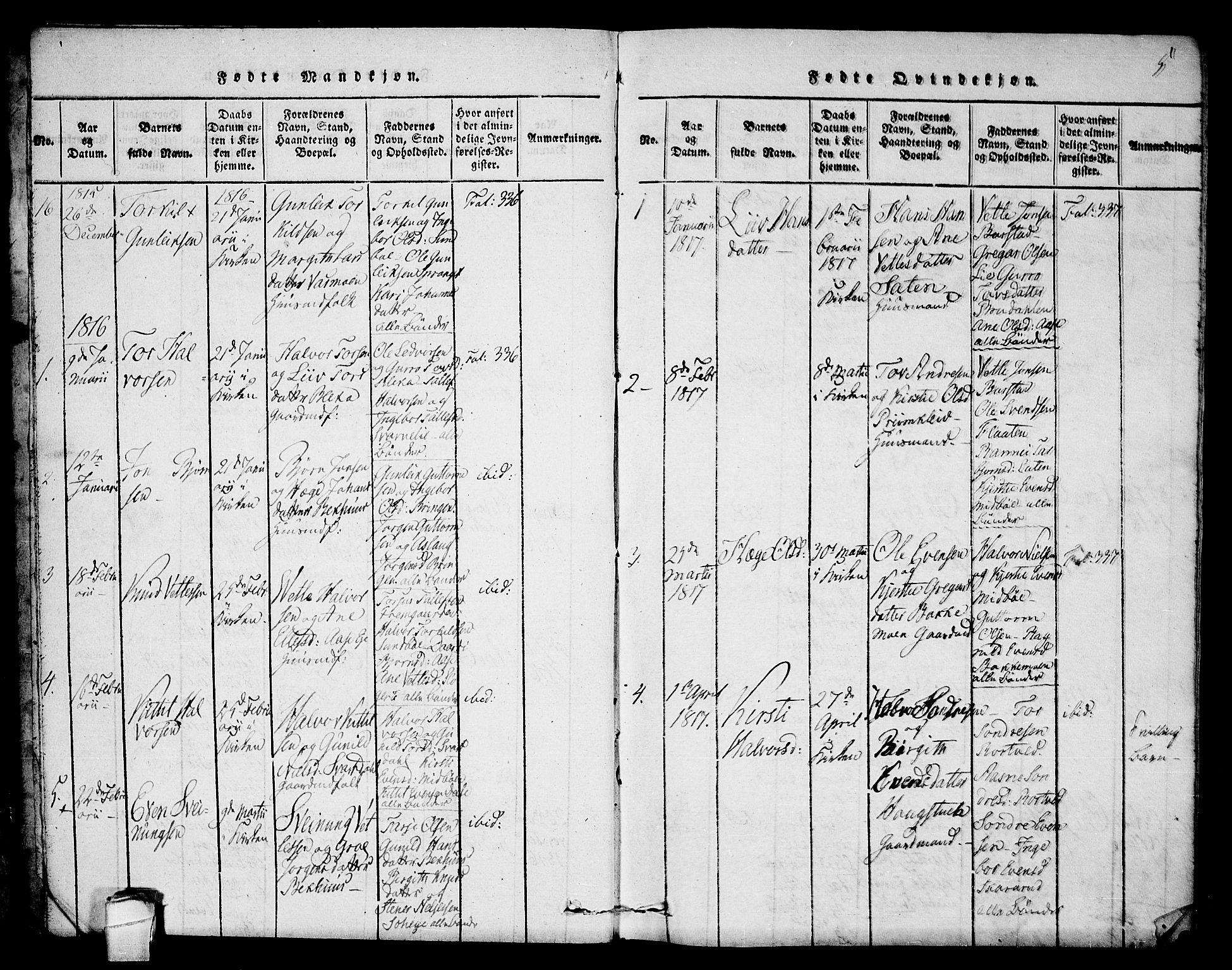 SAKO, Seljord kirkebøker, F/Fb/L0001: Ministerialbok nr. II 1, 1815-1831, s. 5