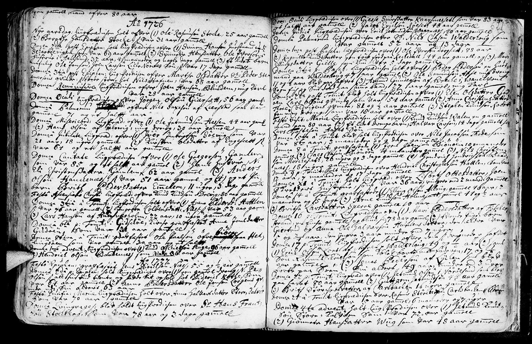 SAT, Ministerialprotokoller, klokkerbøker og fødselsregistre - Møre og Romsdal, 528/L0390: Ministerialbok nr. 528A01, 1698-1739, s. 520-521