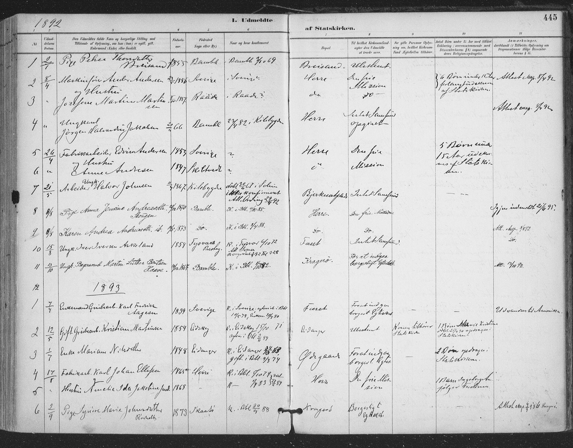 SAKO, Bamble kirkebøker, F/Fa/L0008: Ministerialbok nr. I 8, 1888-1900, s. 445