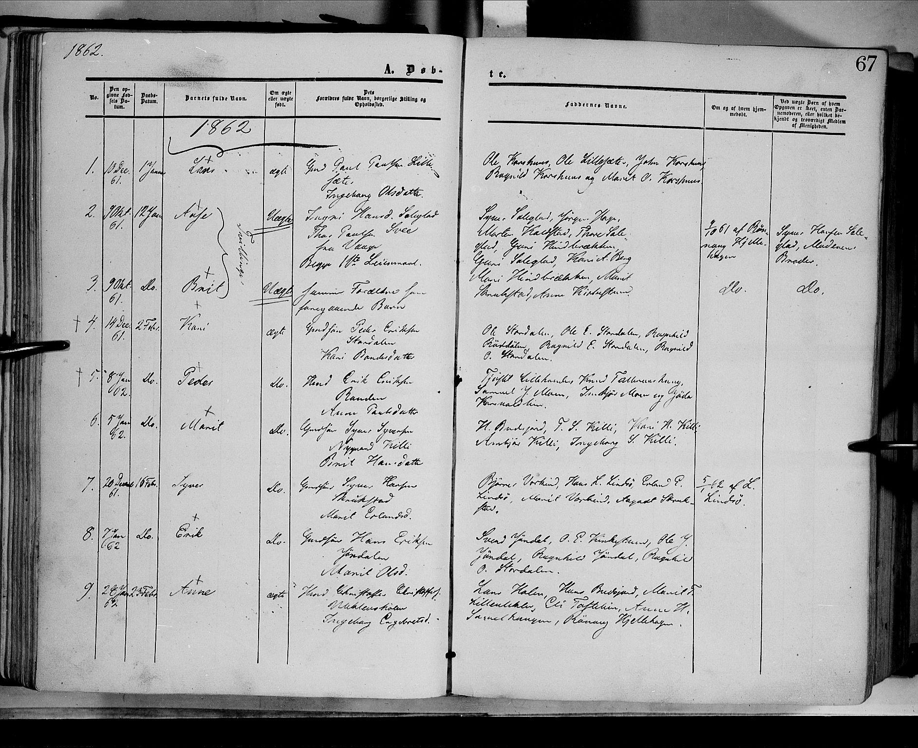 SAH, Dovre prestekontor, Ministerialbok nr. 1, 1854-1878, s. 67