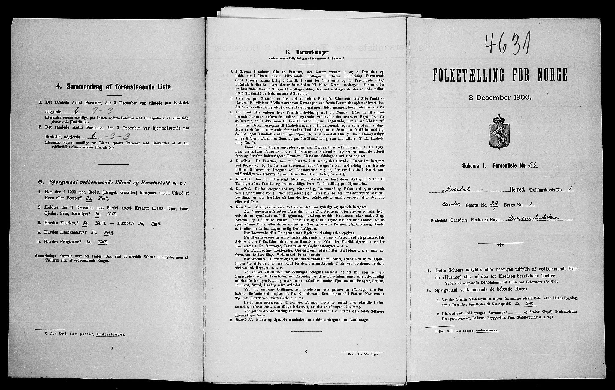 SAO, Folketelling 1900 for 0233 Nittedal herred, 1900