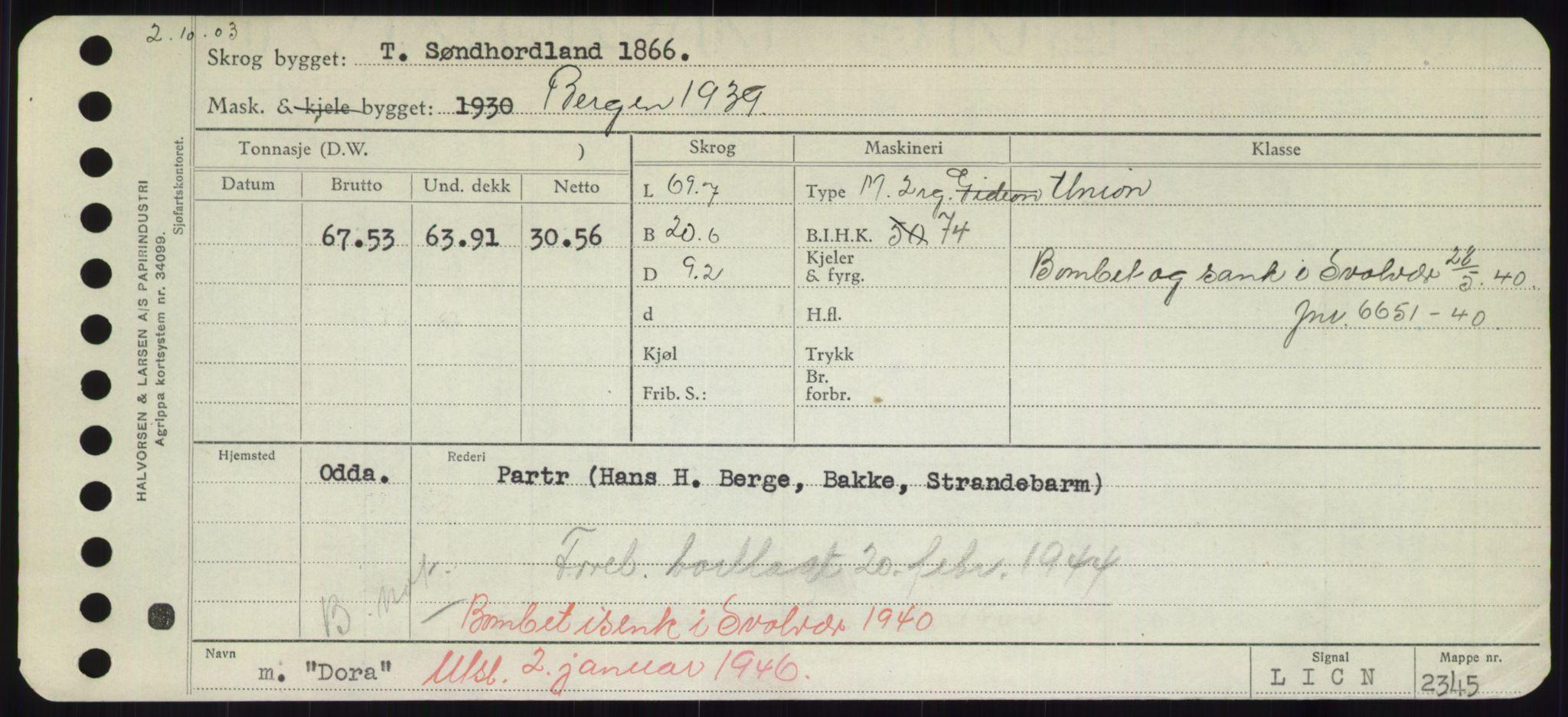 RA, Sjøfartsdirektoratet med forløpere, Skipsmålingen, H/Hd/L0008: Fartøy, C-D, s. 577
