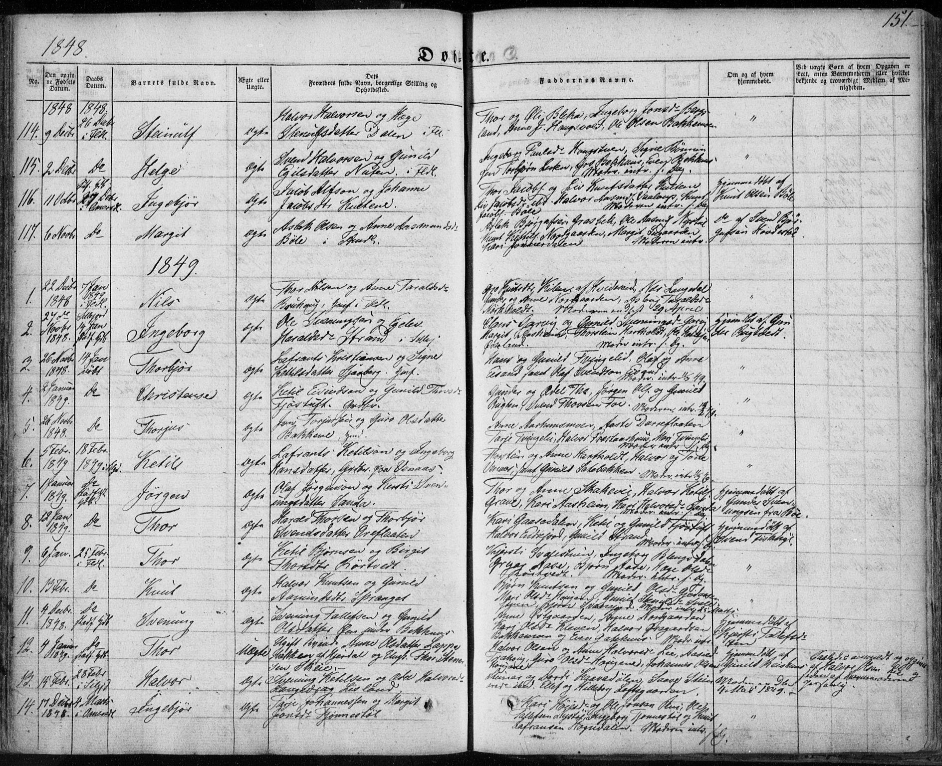 SAKO, Seljord kirkebøker, F/Fa/L0011: Ministerialbok nr. I 11, 1831-1849, s. 151