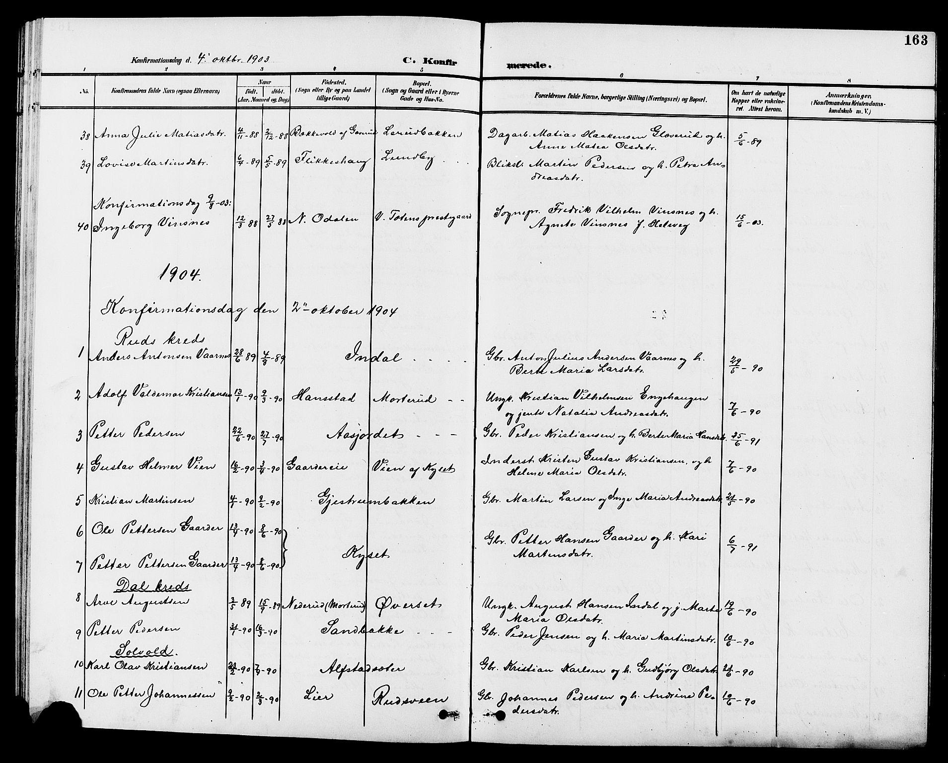 SAH, Vestre Toten prestekontor, H/Ha/Hab/L0010: Klokkerbok nr. 10, 1900-1912, s. 163