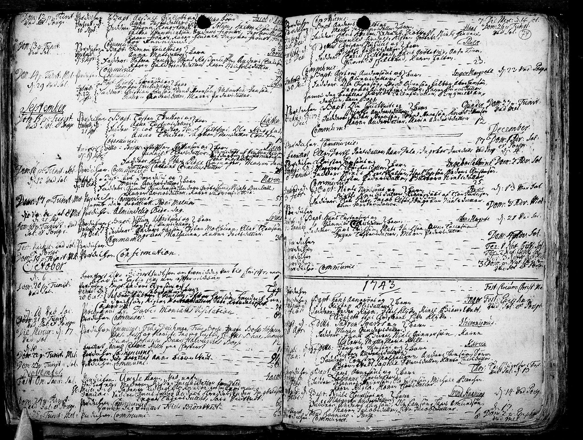 SAKO, Solum kirkebøker, F/Fa/L0002: Ministerialbok nr. I 2, 1713-1761, s. 74