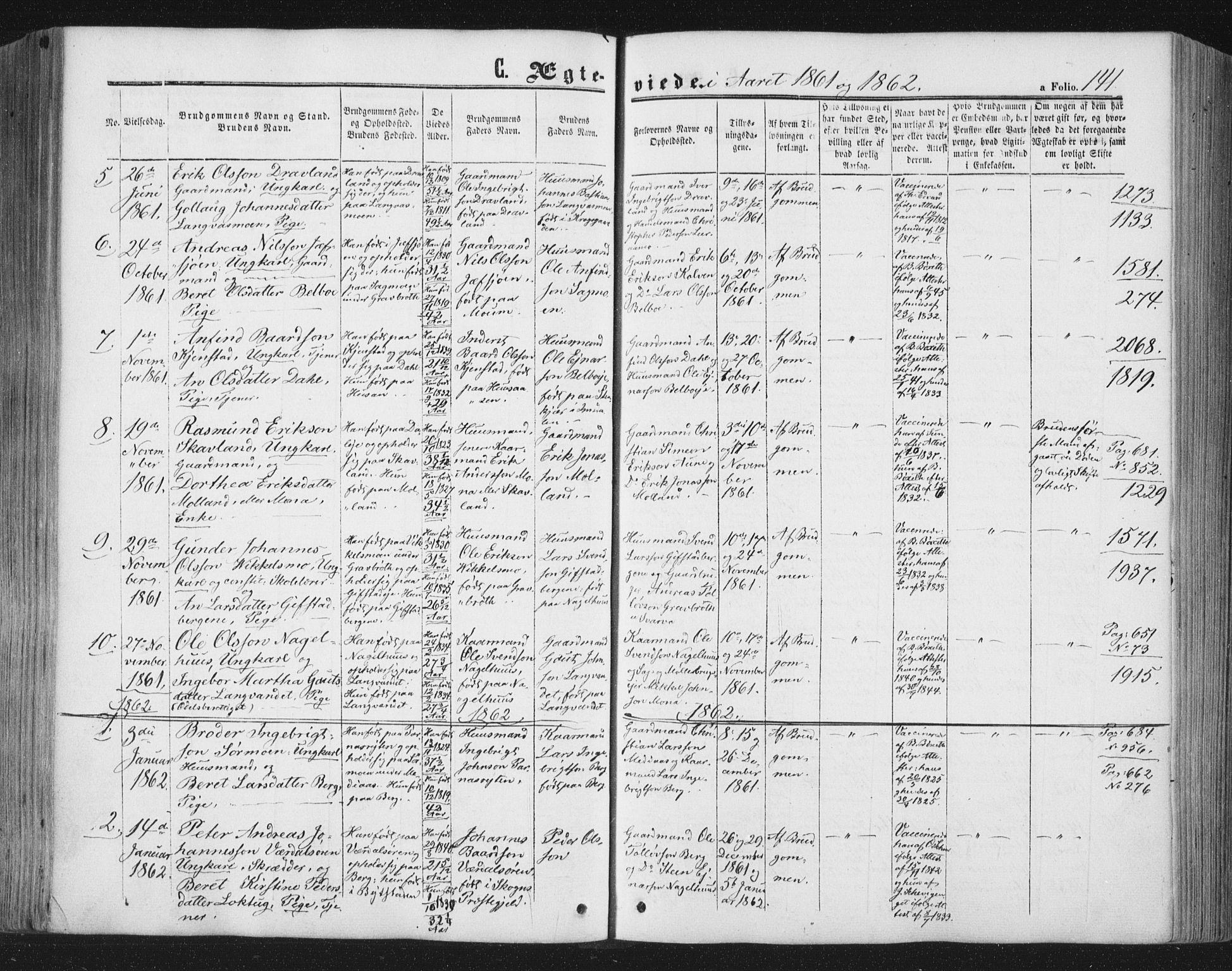 SAT, Ministerialprotokoller, klokkerbøker og fødselsregistre - Nord-Trøndelag, 749/L0472: Ministerialbok nr. 749A06, 1857-1873, s. 141