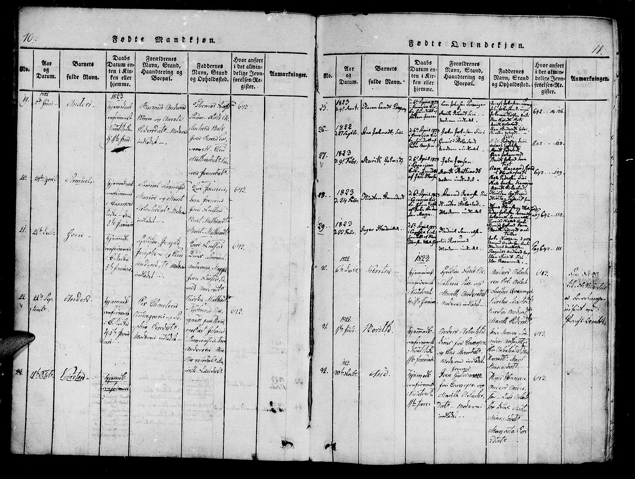 SATØ, Kistrand/Porsanger sokneprestembete, Ministerialbok nr. 10, 1821-1842, s. 10-11
