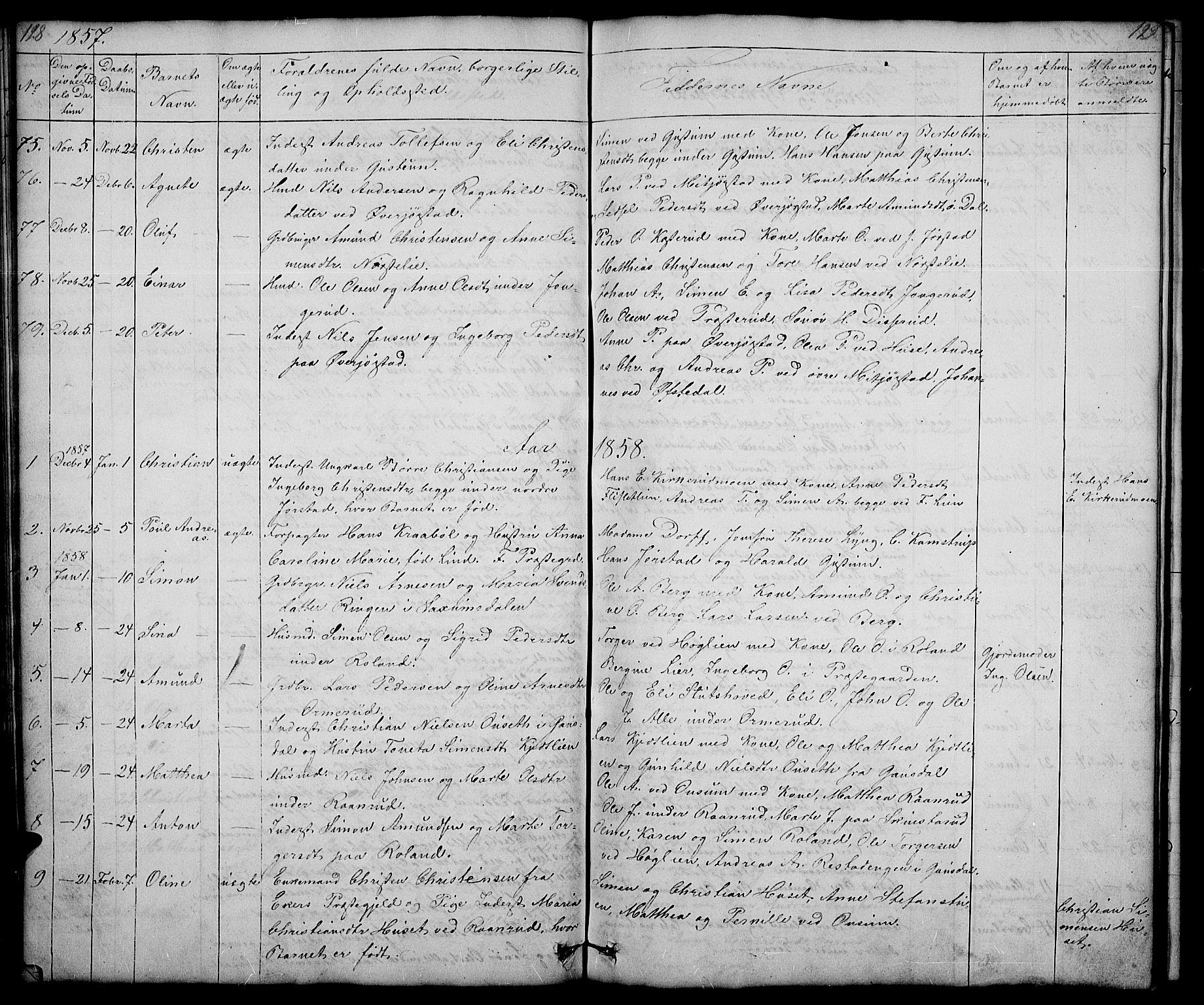 SAH, Fåberg prestekontor, Klokkerbok nr. 5, 1837-1864, s. 128-129